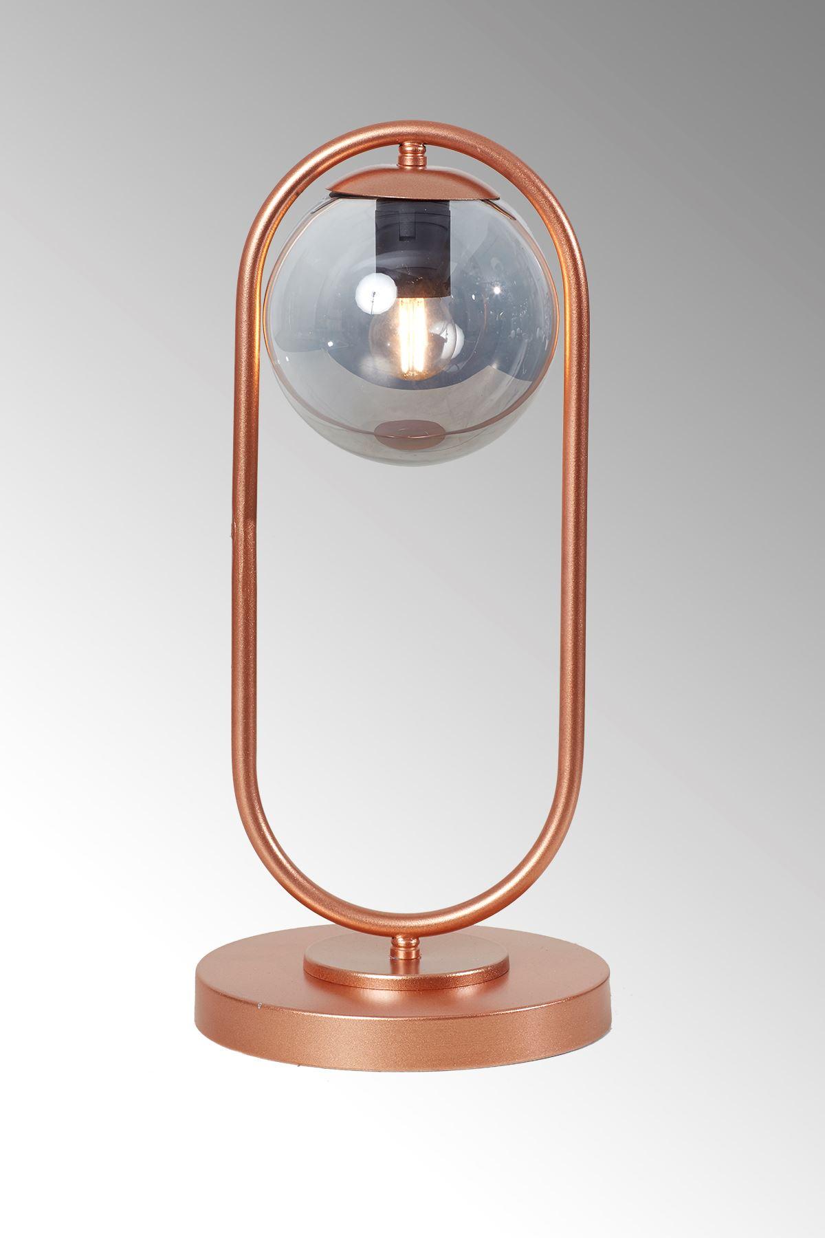 Zenga Bakır Metal Gövde Füme Camlı Tasarım Lüx Masa Lambası