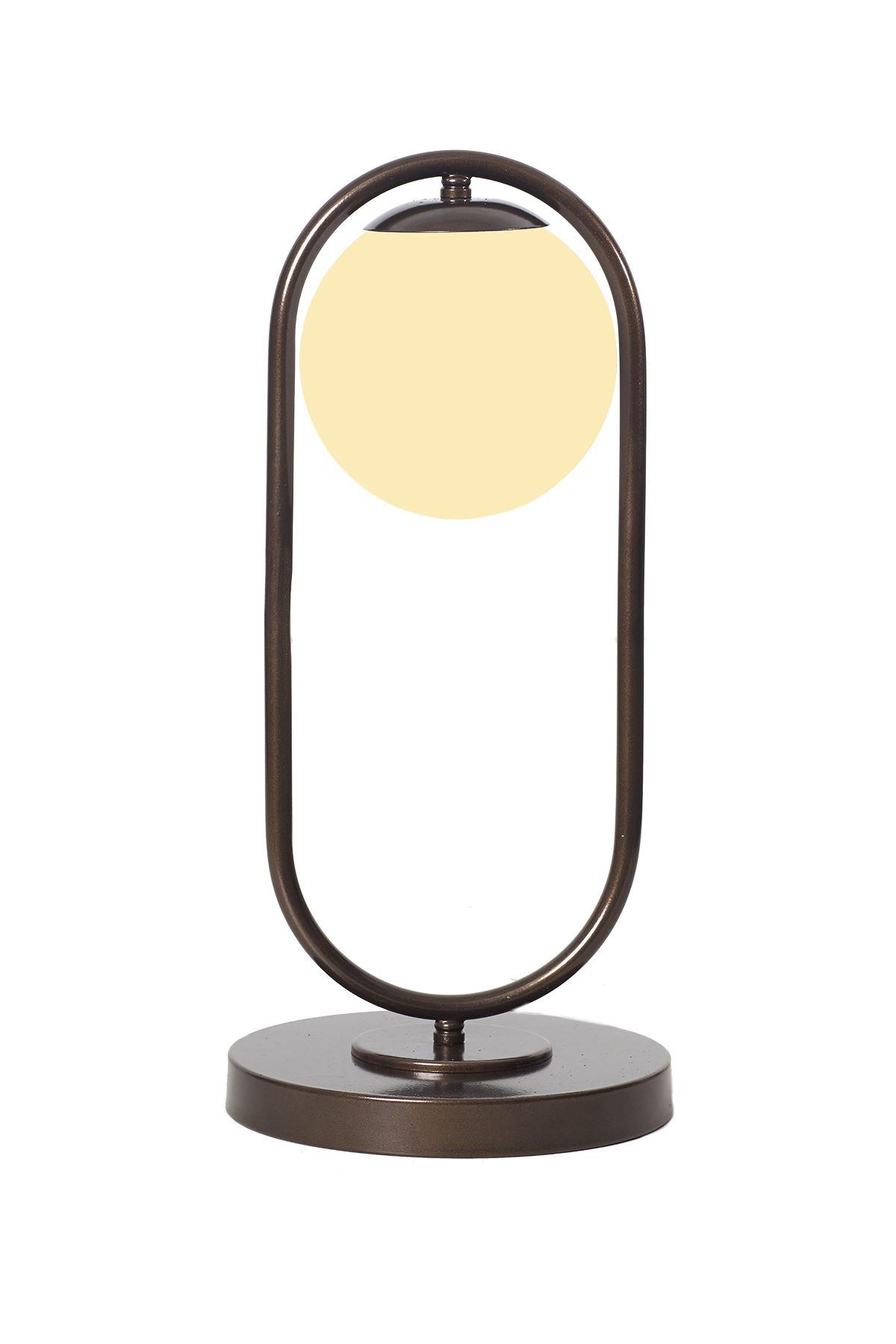 Zenga Eskitme Metal Gövde Beyaz Camlı Tasarım Lüx Masa Lambası