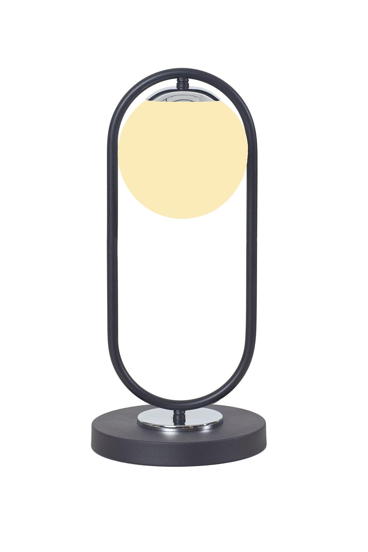 Zenga Siyah-Krom Metal Gövde Beyaz Camlı Tasarım Lüx Masa Lambası