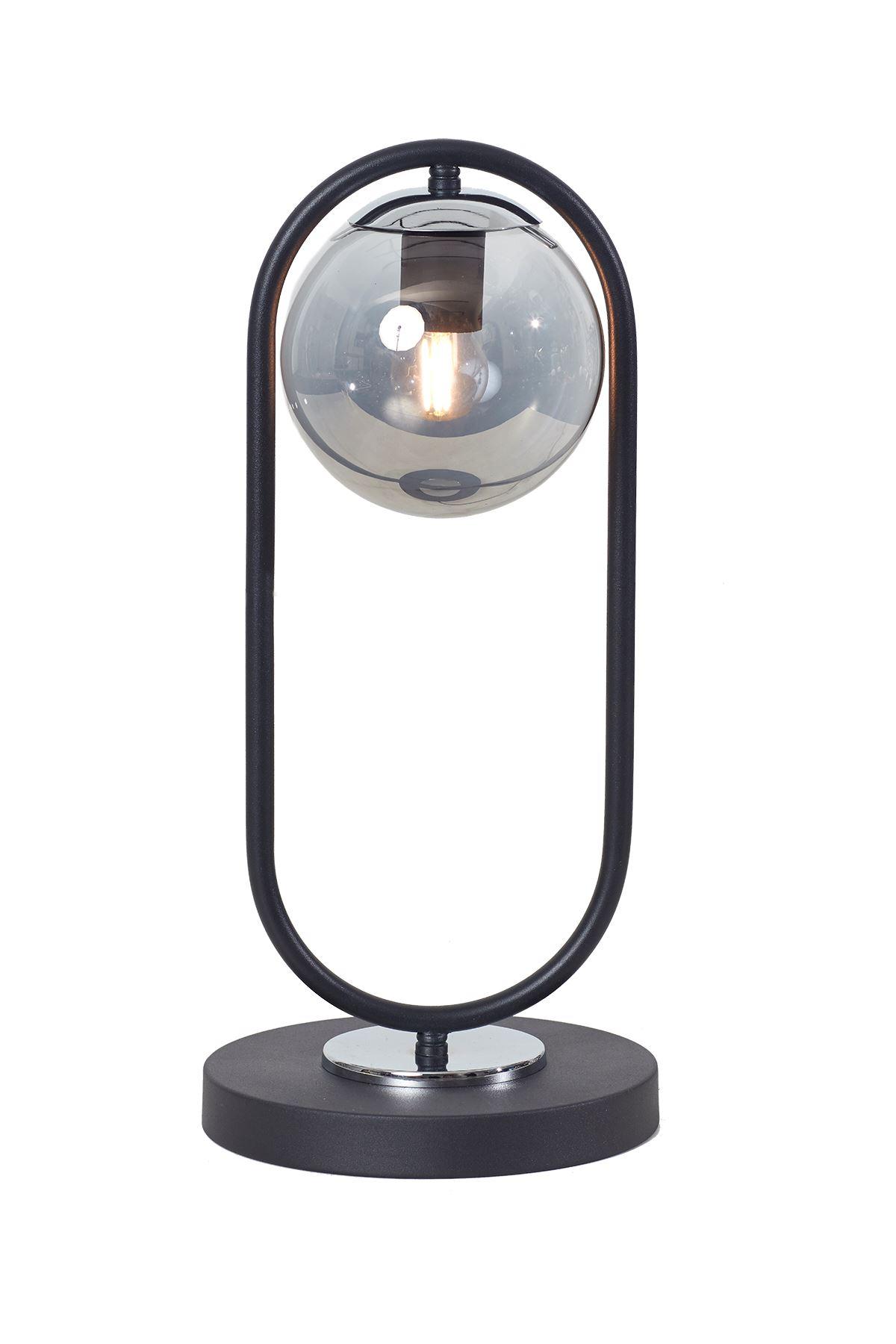Zenga Siyah-Krom Metal Gövde Füme Camlı Tasarım Lüx Masa Lambası