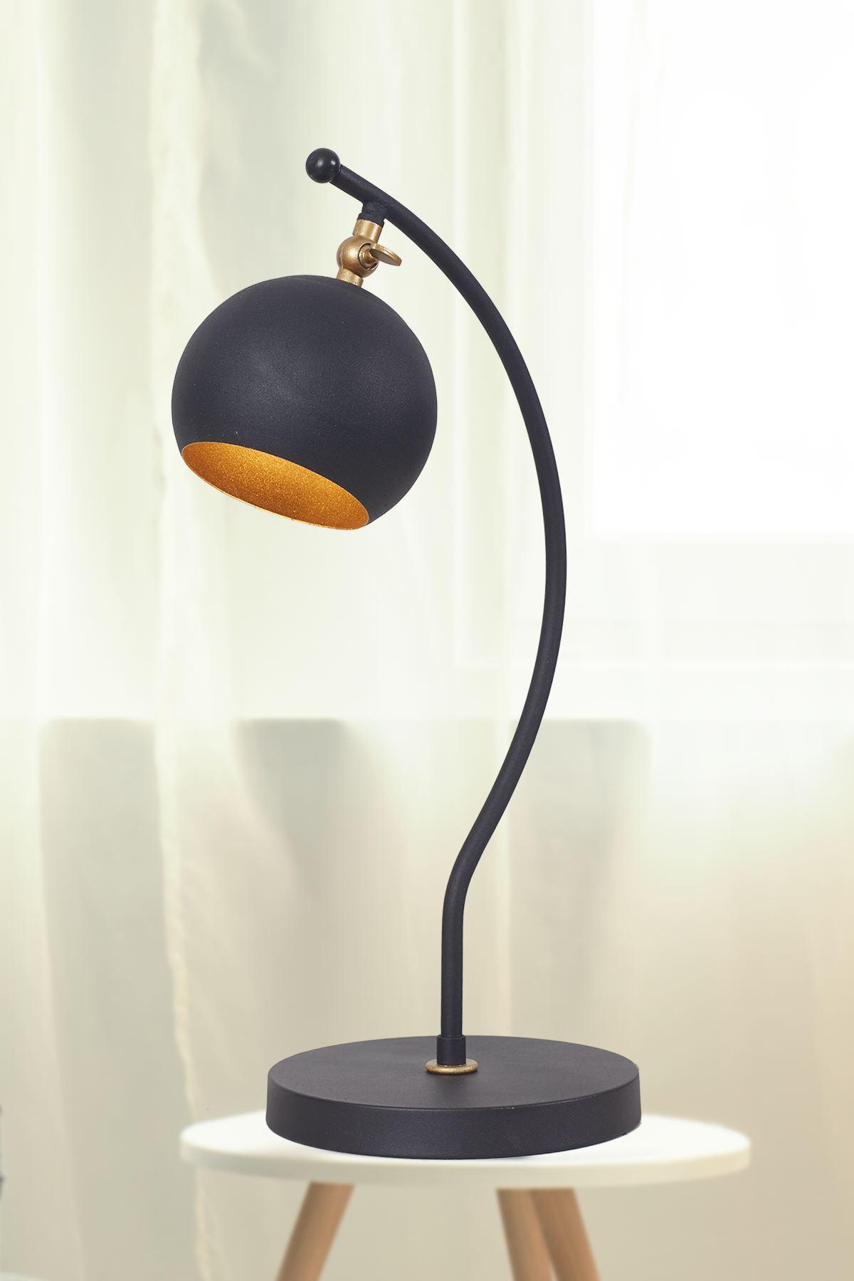 Moon Sarı-Siyah Metal Gövde Tasarım Lüx Masa Lambası