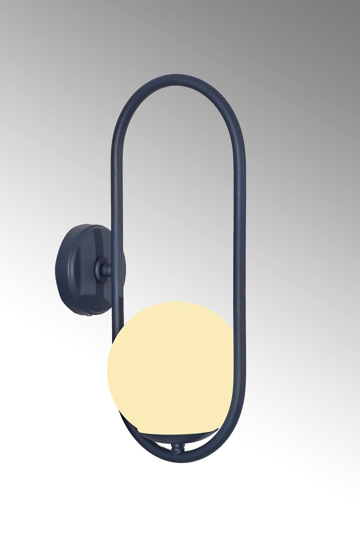 Zenga Antrasit Metal Gövde Beyaz Camlı Tasarım  Lüx Aplik