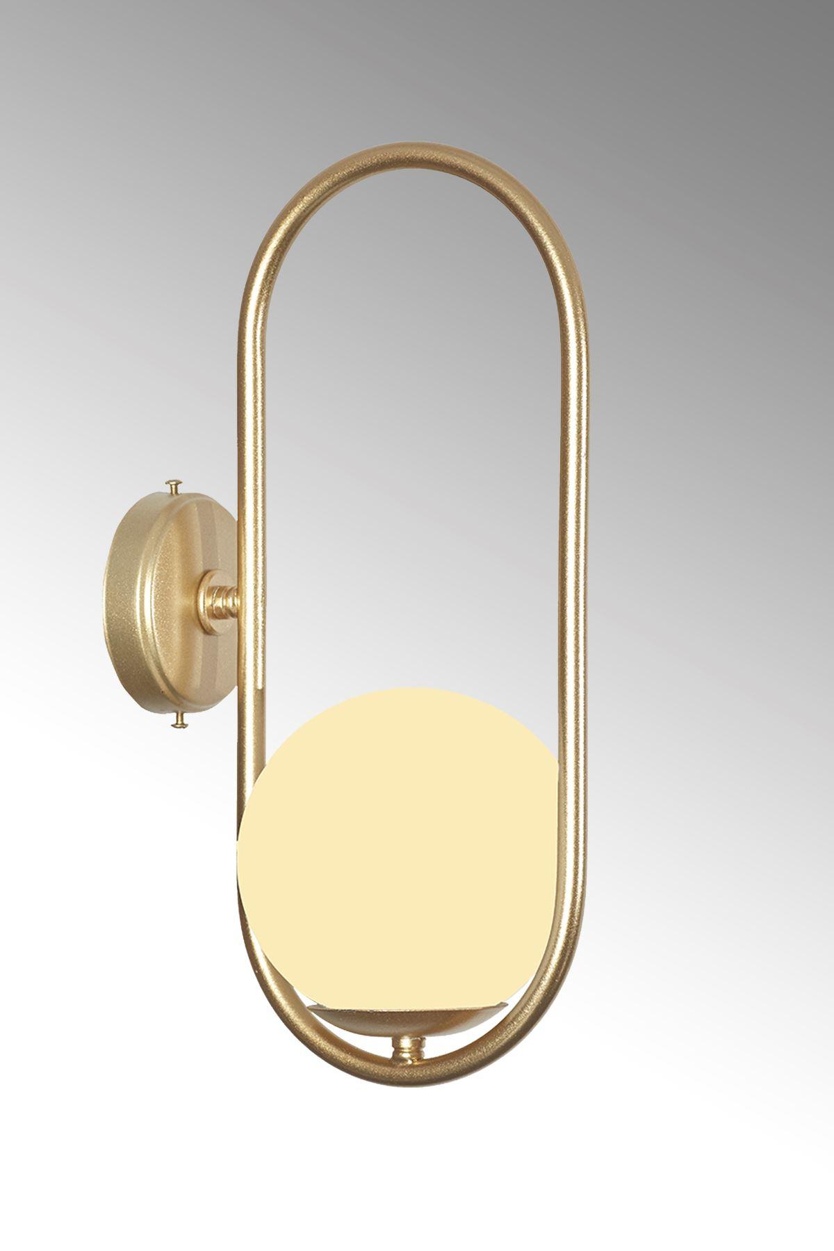 Zenga Sarı Metal Gövde Beyaz Camlı Tasarım  Lüx Aplik