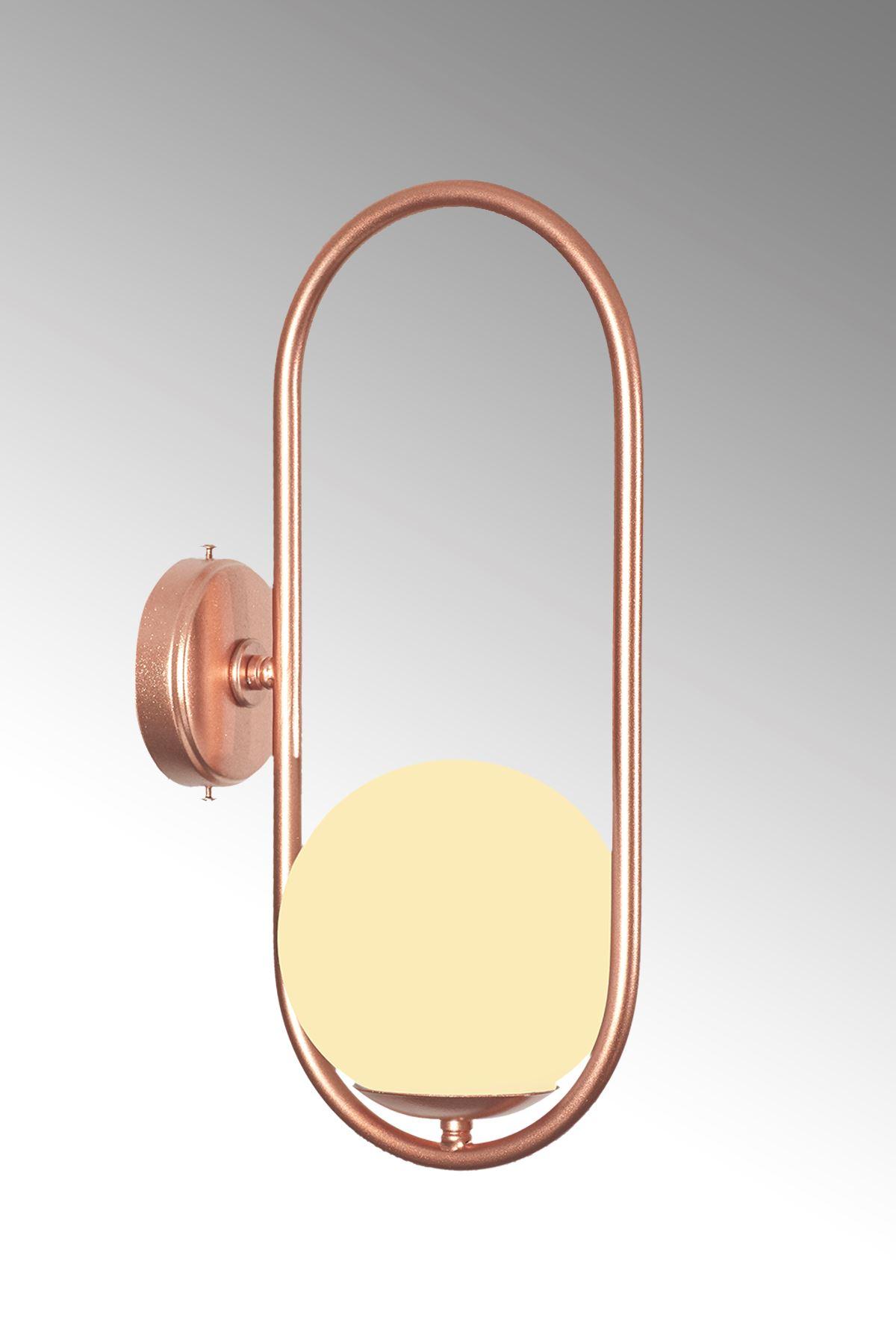 Zenga Bakır Metal Gövde Beyaz Camlı Tasarım  Lüx Aplik