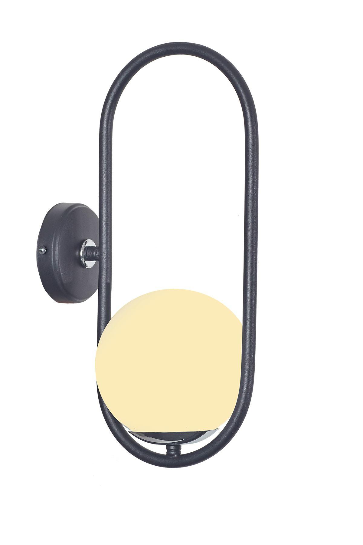 Zenga Siyah-Krom Metal Gövde Beyaz Camlı Tasarım  Lüx Aplik