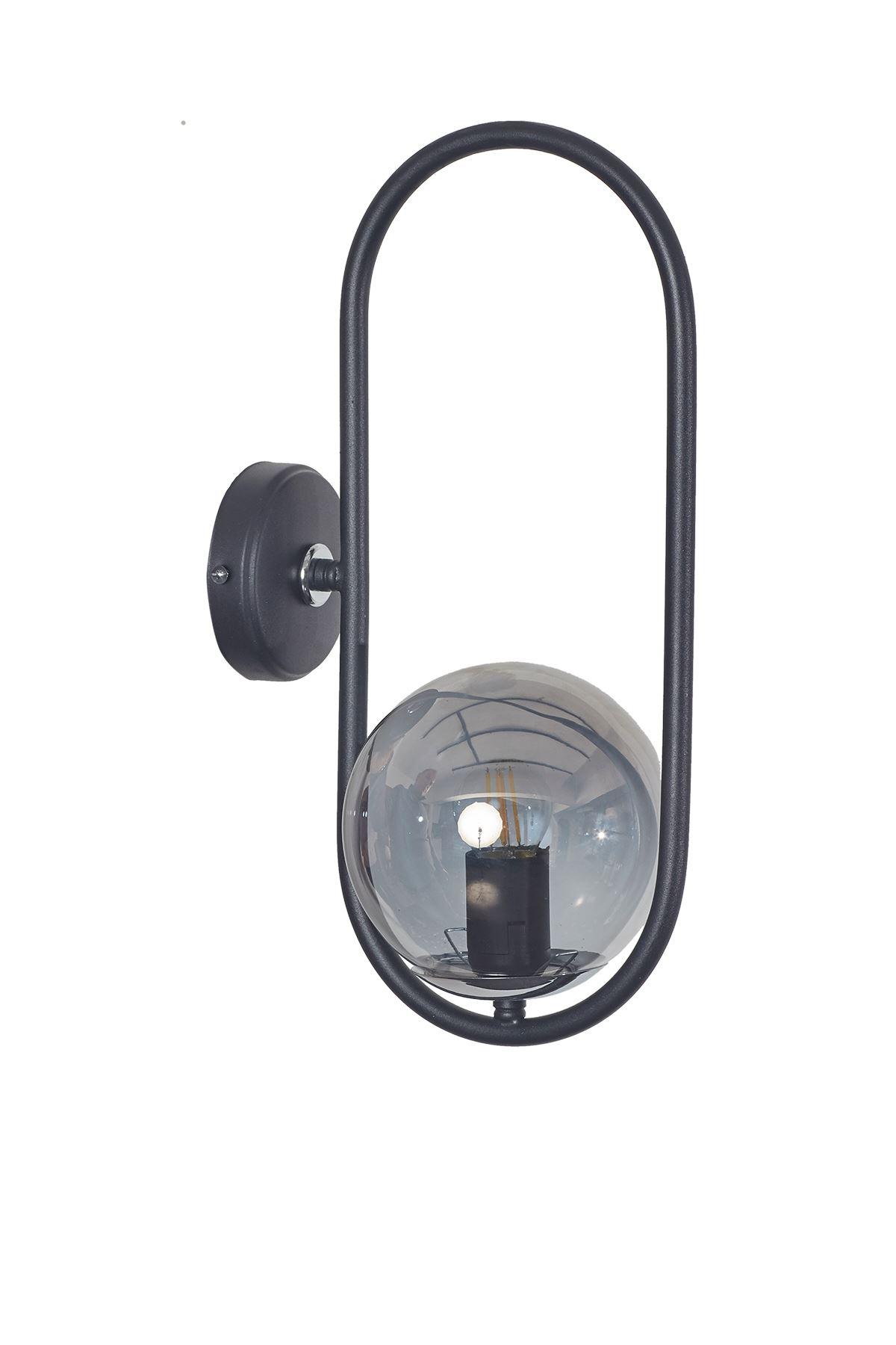 Zenga Siyah-Krom Metal Gövde Füme Camlı Tasarım  Lüx Aplik