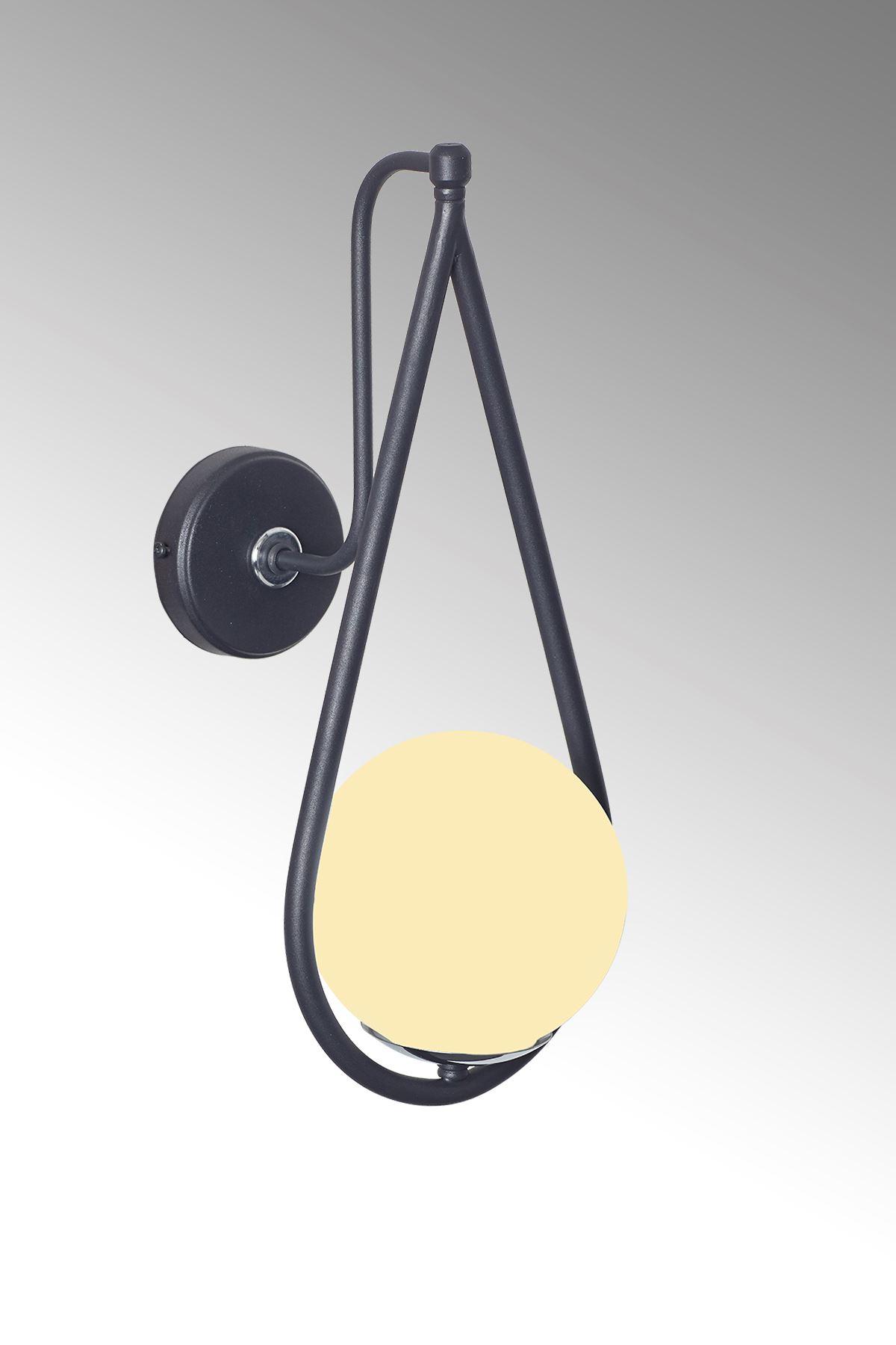 Siena Krom-Siyah Metal Gövde Beyaz Camlı Tasarım Lüx Aplik