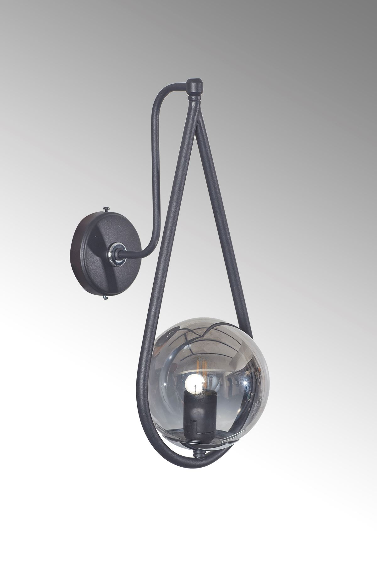 Siena Krom-Siyah Metal Gövde Füme Camlı Tasarım Lüx Aplik