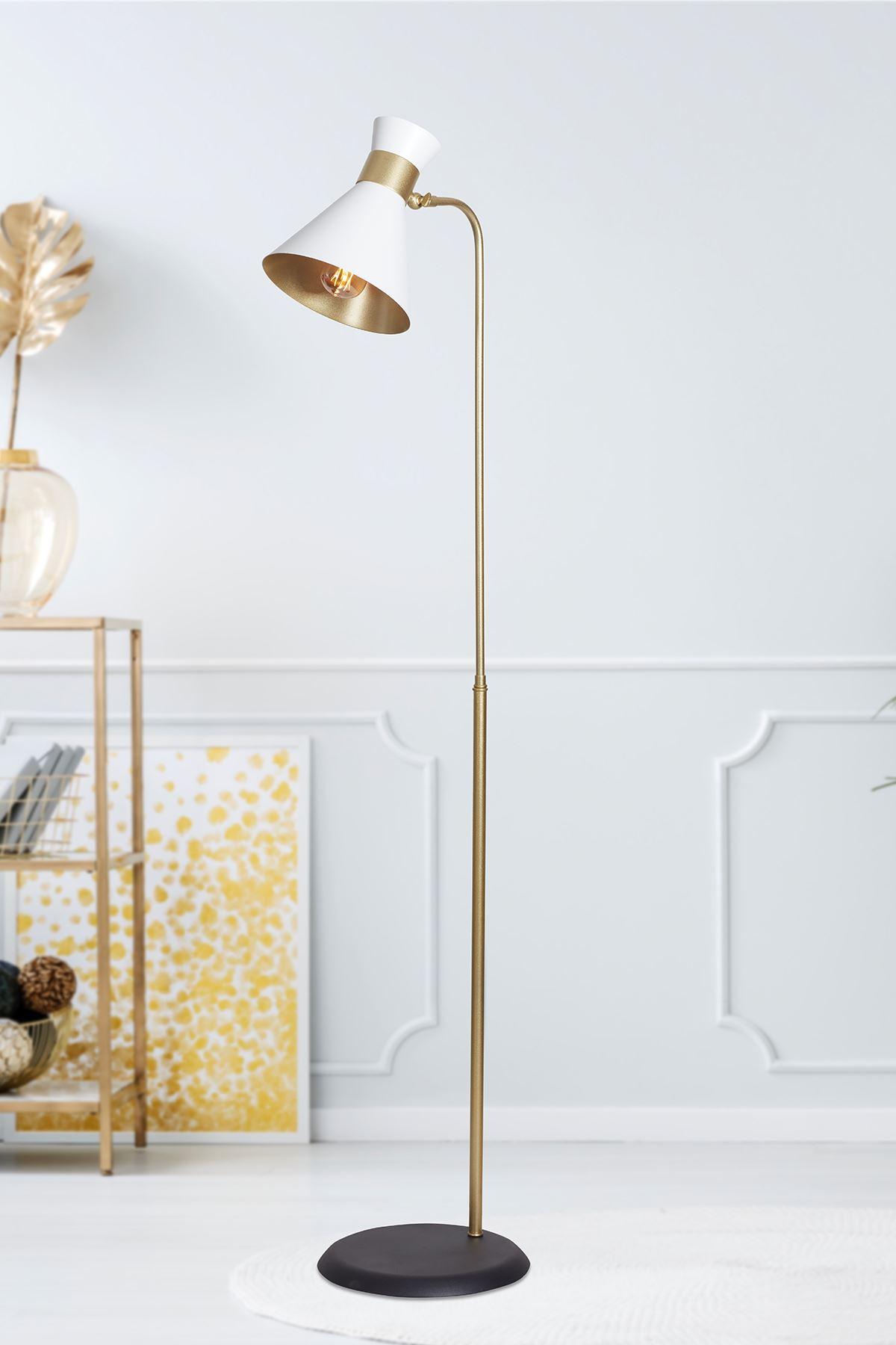 Omega Sarı-Beyaz  Metal Gövde Tasarım Lüx Yerden Aaydınlatma Lambader