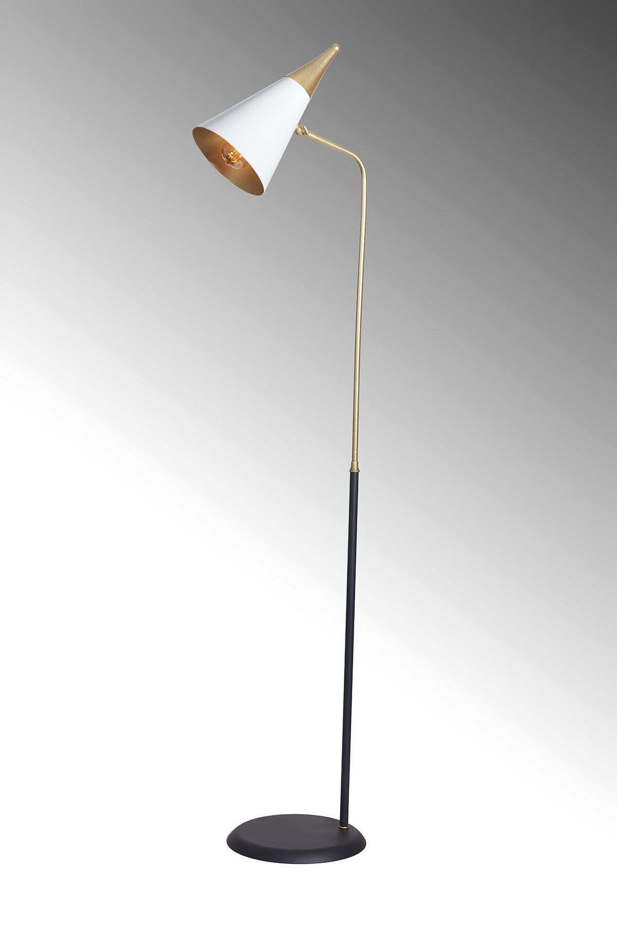 Zeta Sarı-Beyaz  Metal Gövde Tasarım Lüx Yerden Aaydınlatma Lambader