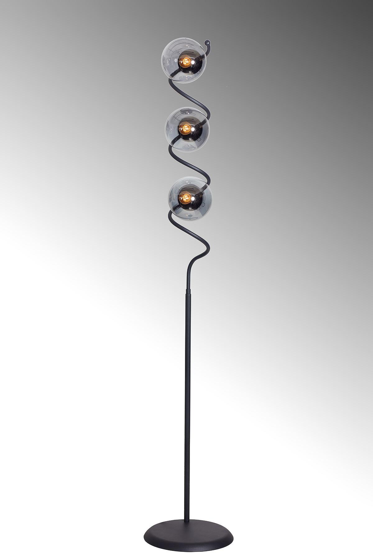 Nora Siyah Metal Gövde Füme Camlı Tasarım Lüx Yerden Aydınlatma Lambader