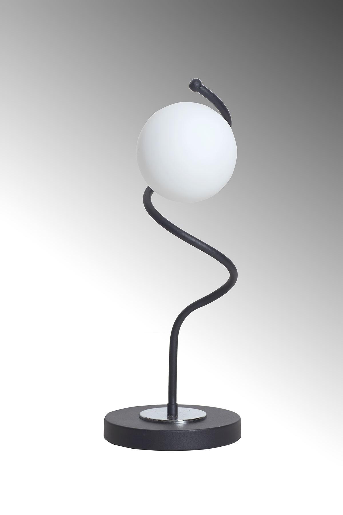 Nora Siyah-Krom Metal Gövde Beyaz Camlı Tasarım Lüx Masa Lambası