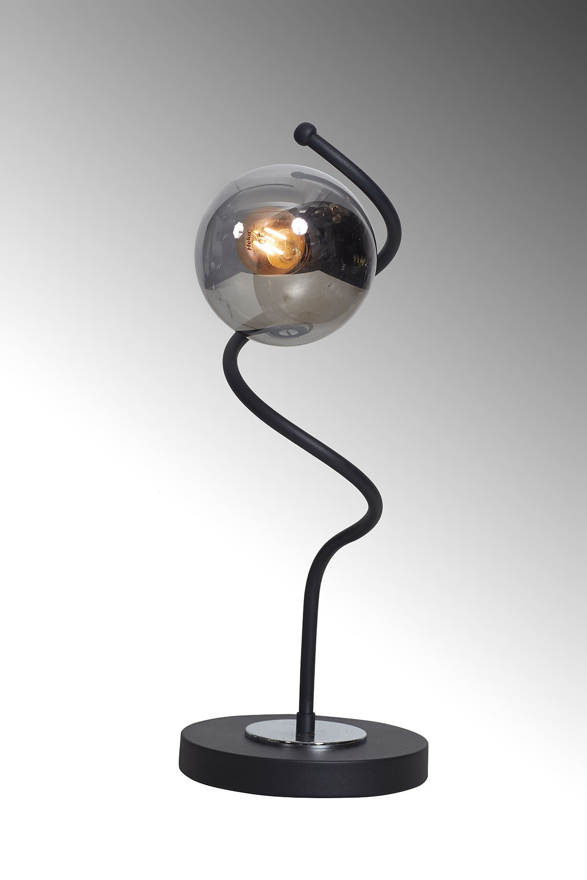 Nora  Siyah-Krom Metal Gövde Füme Camlı Tasarım Lüx Masa Lambası