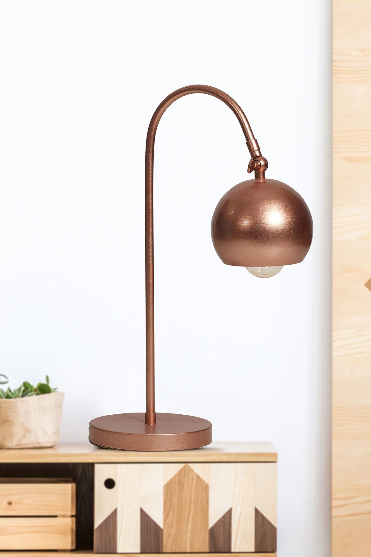 Molde Bakır  Metal Gövde Tasarım Lüx Masa Lambası