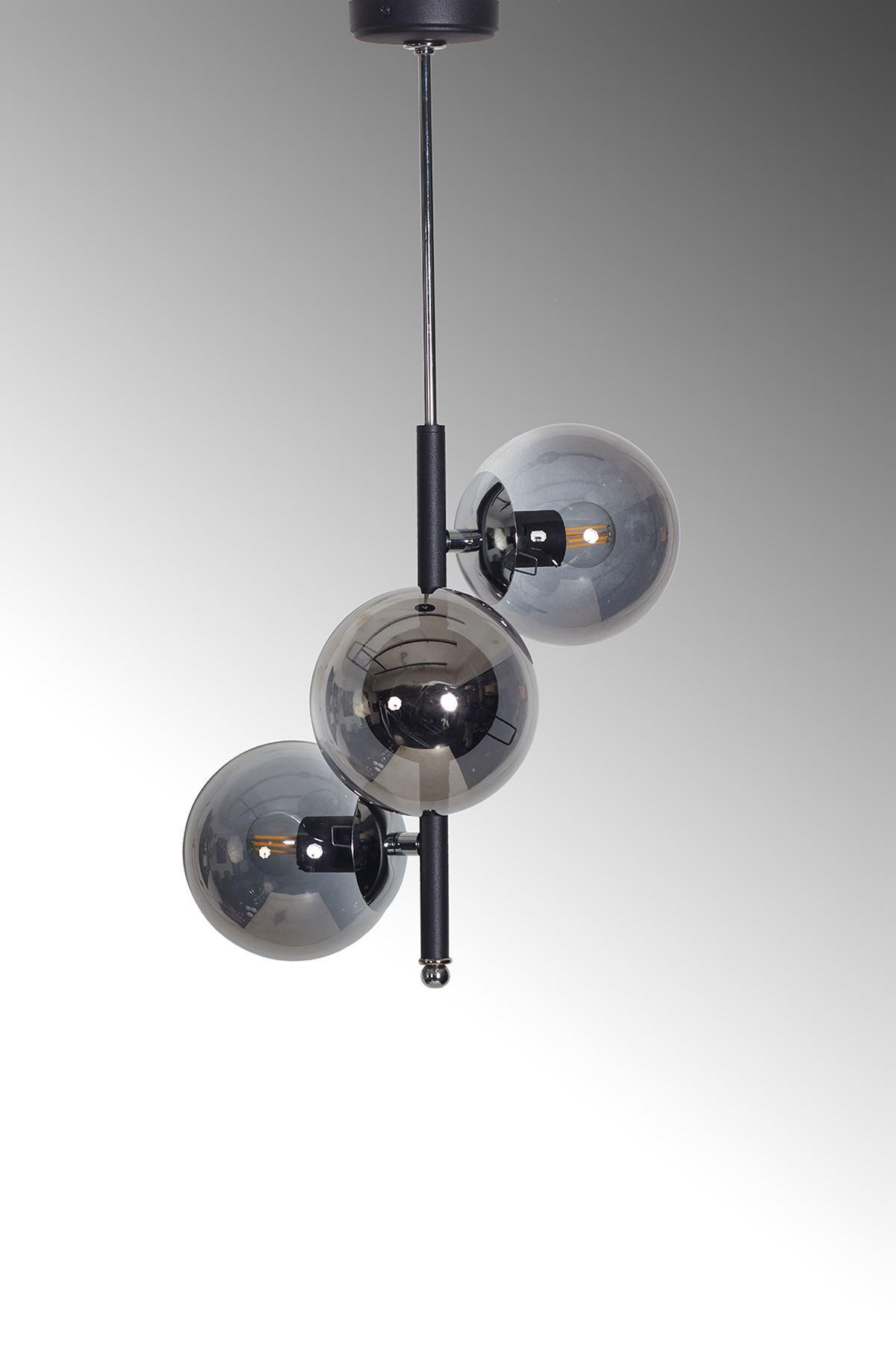 Perla 3 Lü Siyah-Krom Metal Gövde Füme Camlı Tasarım Lüx Avize