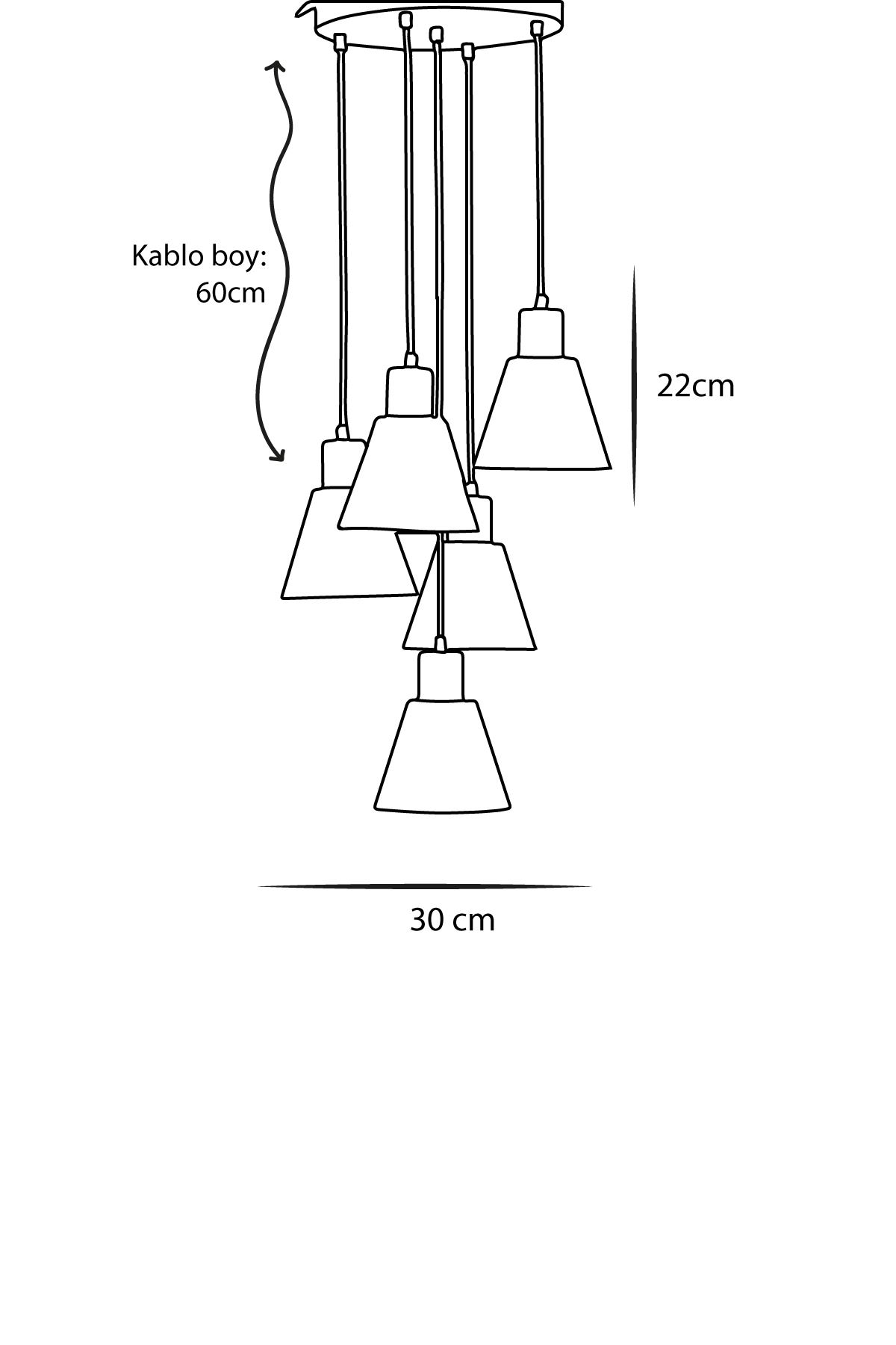 Alfa 5 Li Sarı-Siyah Metal Gövde  Tasarım Lüx Sarkıt Avize