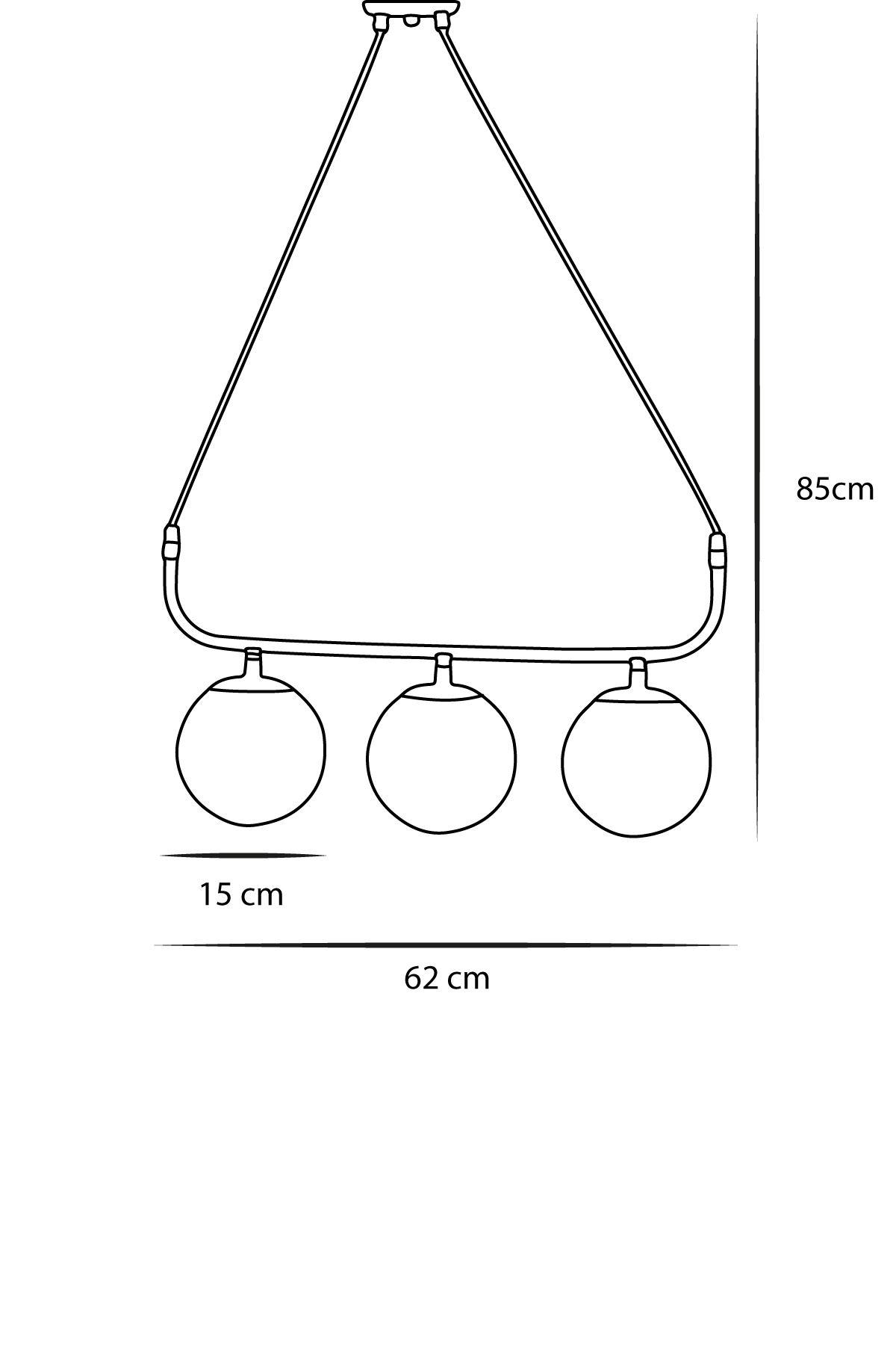 Delta 3 Lü Siyah-Krom Metal Gövde Füme Camlı Tasarım Lüx Avize