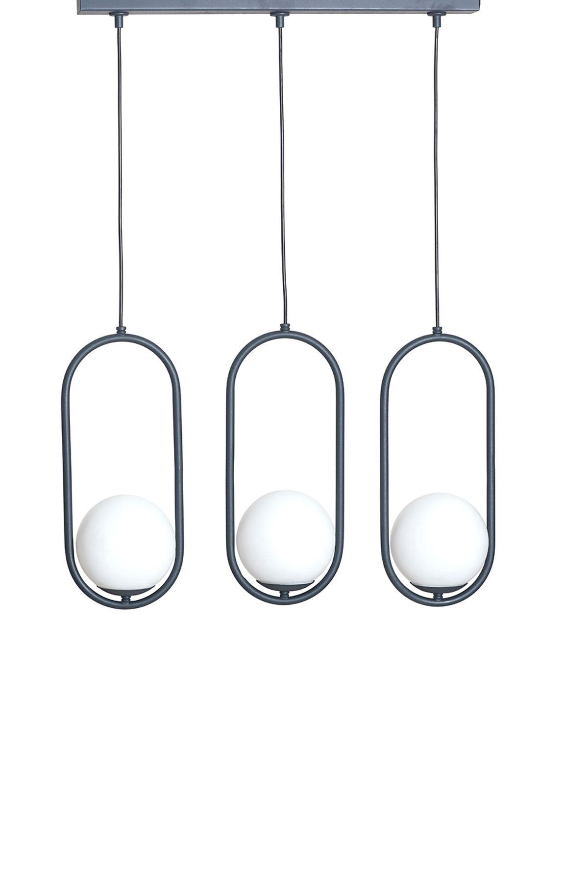 Zenga  3 Lü Antrasit Metal Gövde Beyaz Camlı  Tasarım Lüx  Sıralı Avize