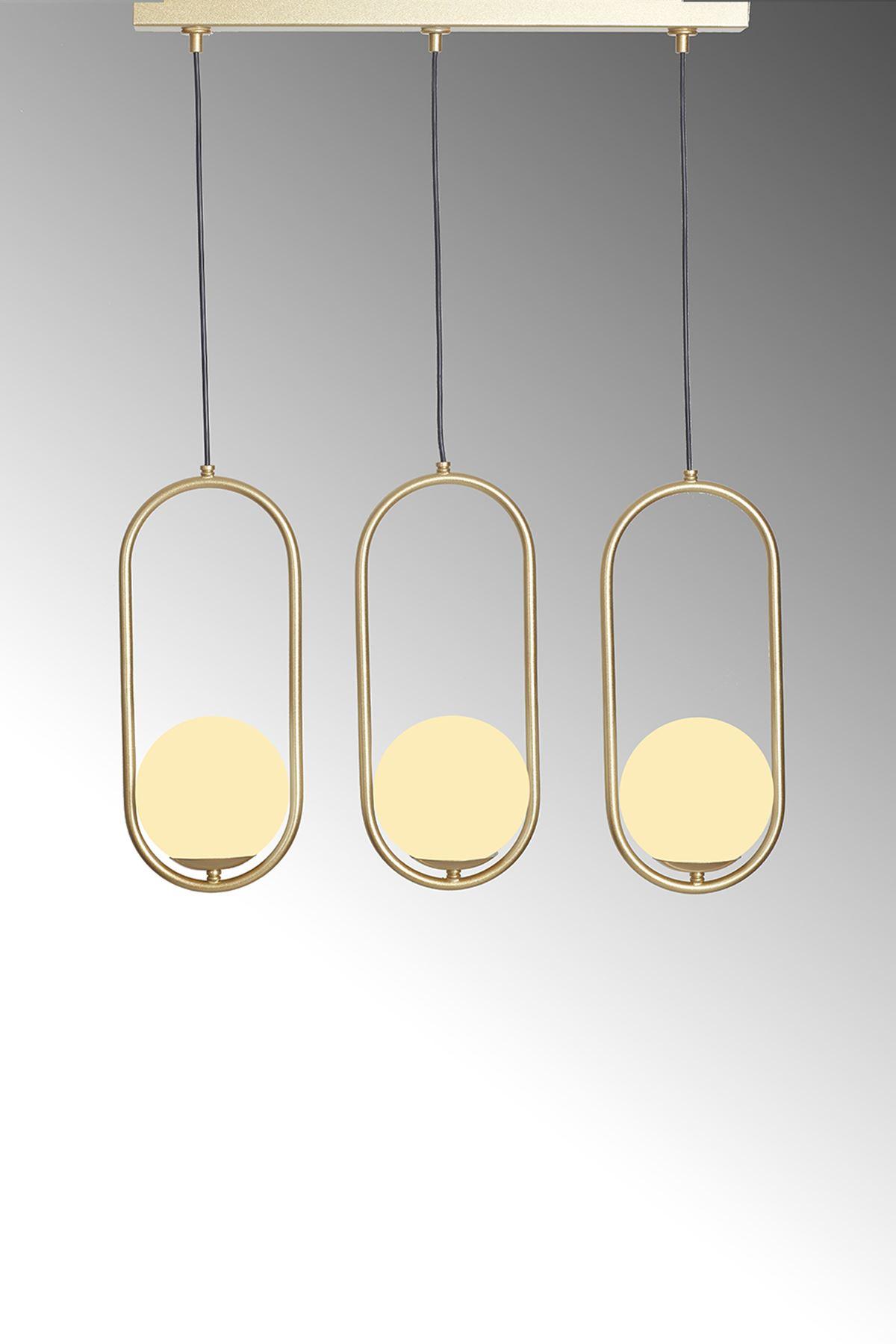 Zenga  3 Lü Sarı Metal Gövde Beyaz Camlı  Tasarım Lüx  Sıralı Avize