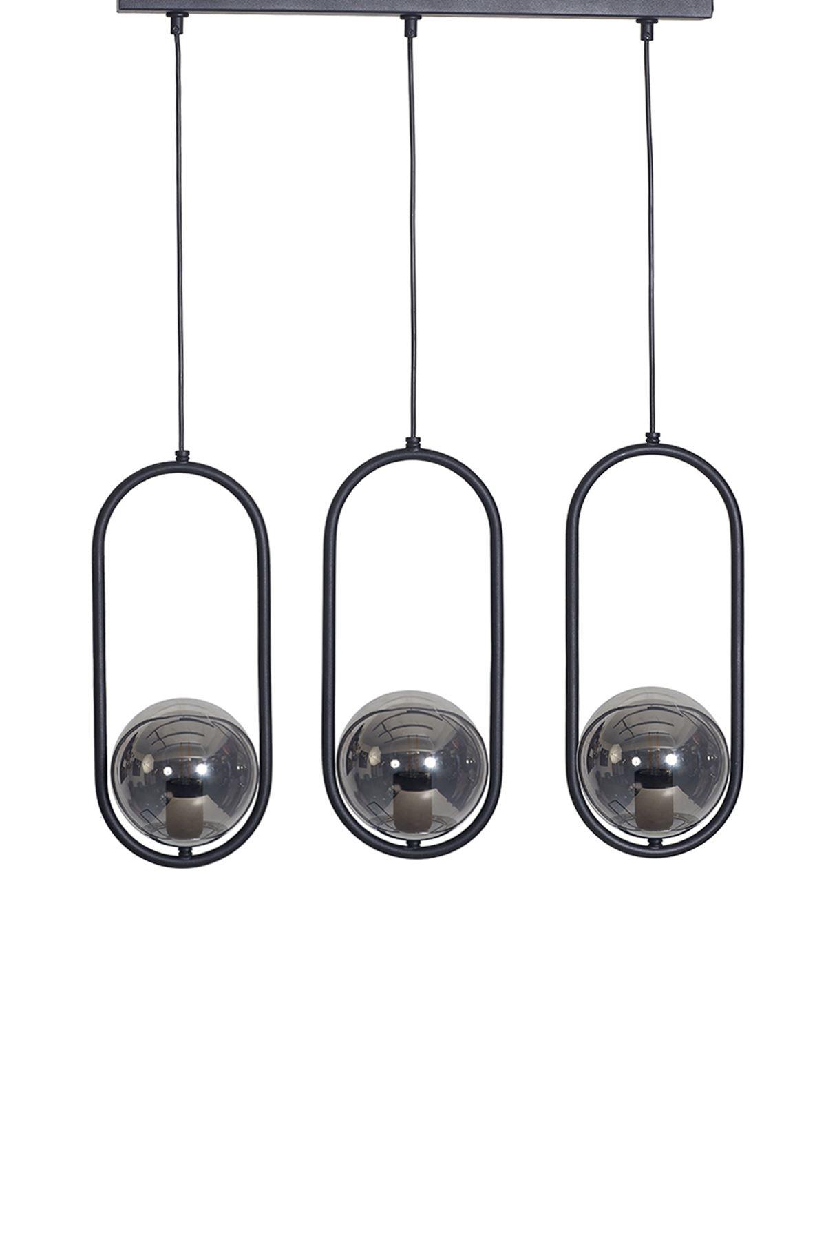 Zenga 3 Lü Siyah-Krom Metal Gövde Füme Camlı  Tasarım Lüx Sıralı Avize