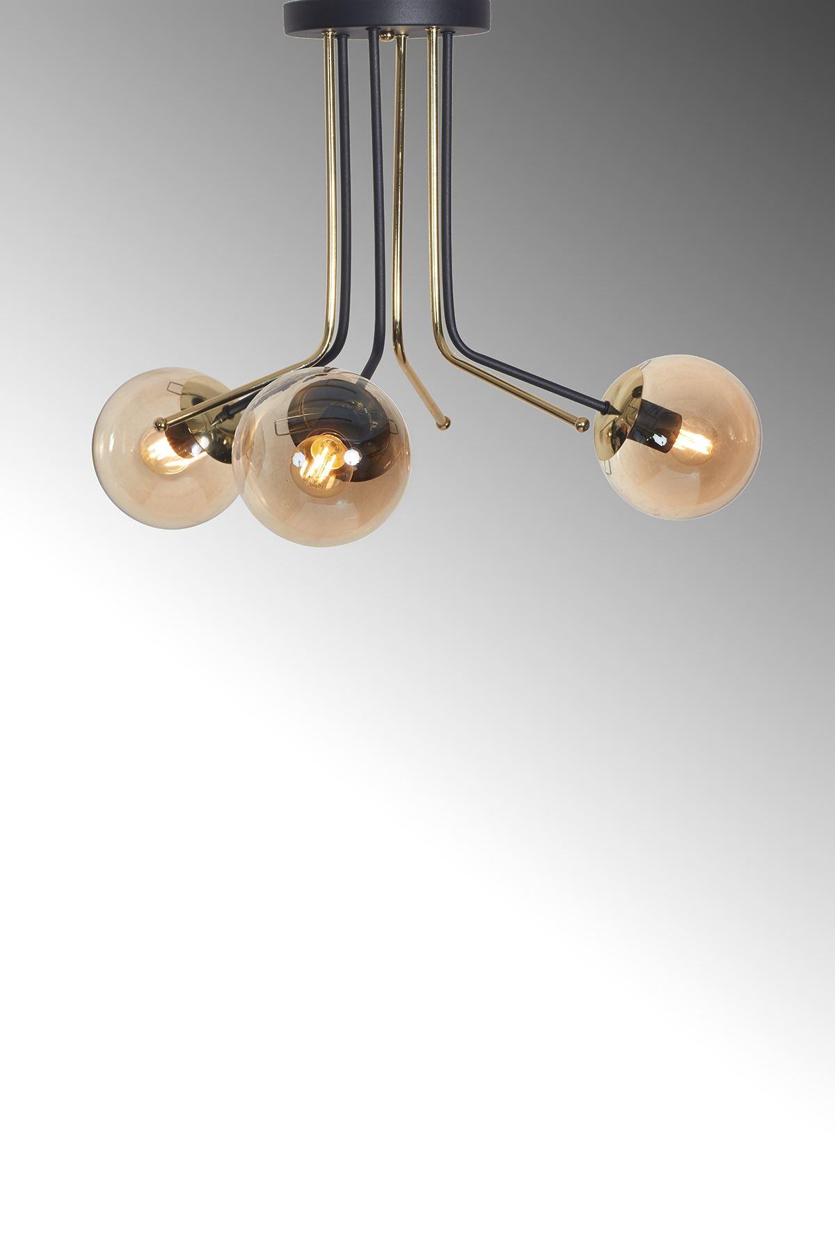 Optik  3 Lü Gold-Siyah Metal Gövde Bal Rengi Camlı  Tasarım Lüx  Avize