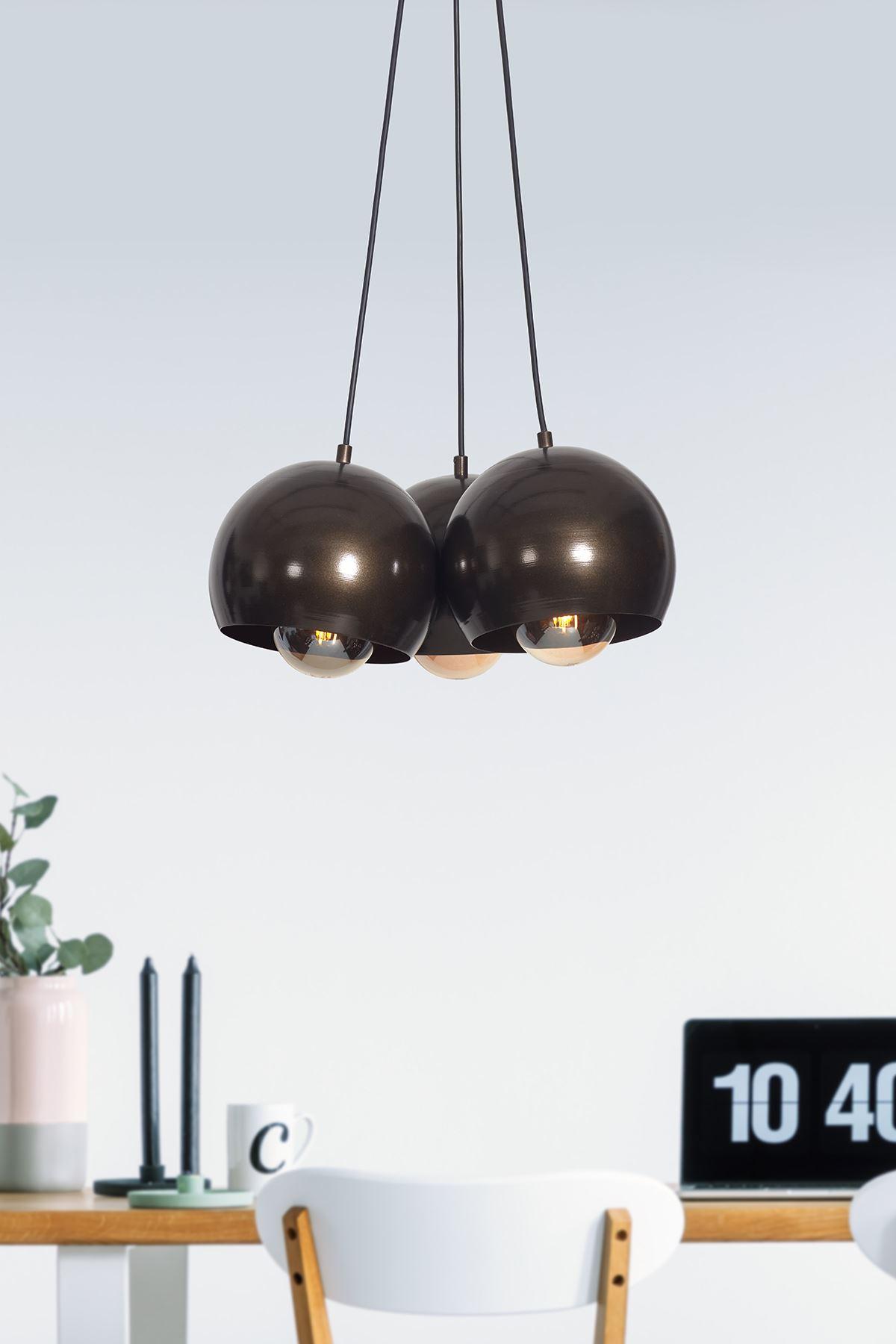Luna 3 Lü Eskitme Metal Gövde  Tasarım Lüx Sarkıt Avize