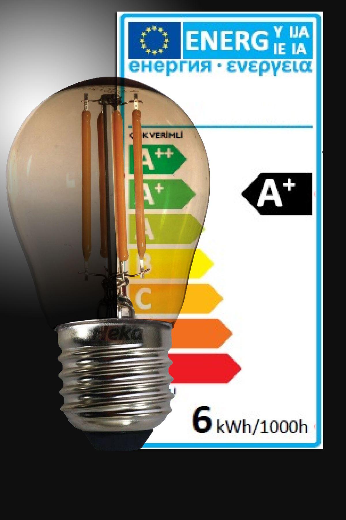Luzarana  E27 G45  6 Watt (530 lümen) Gün Işığı Amber camlı Rustik LED Top Ampül (Heka)