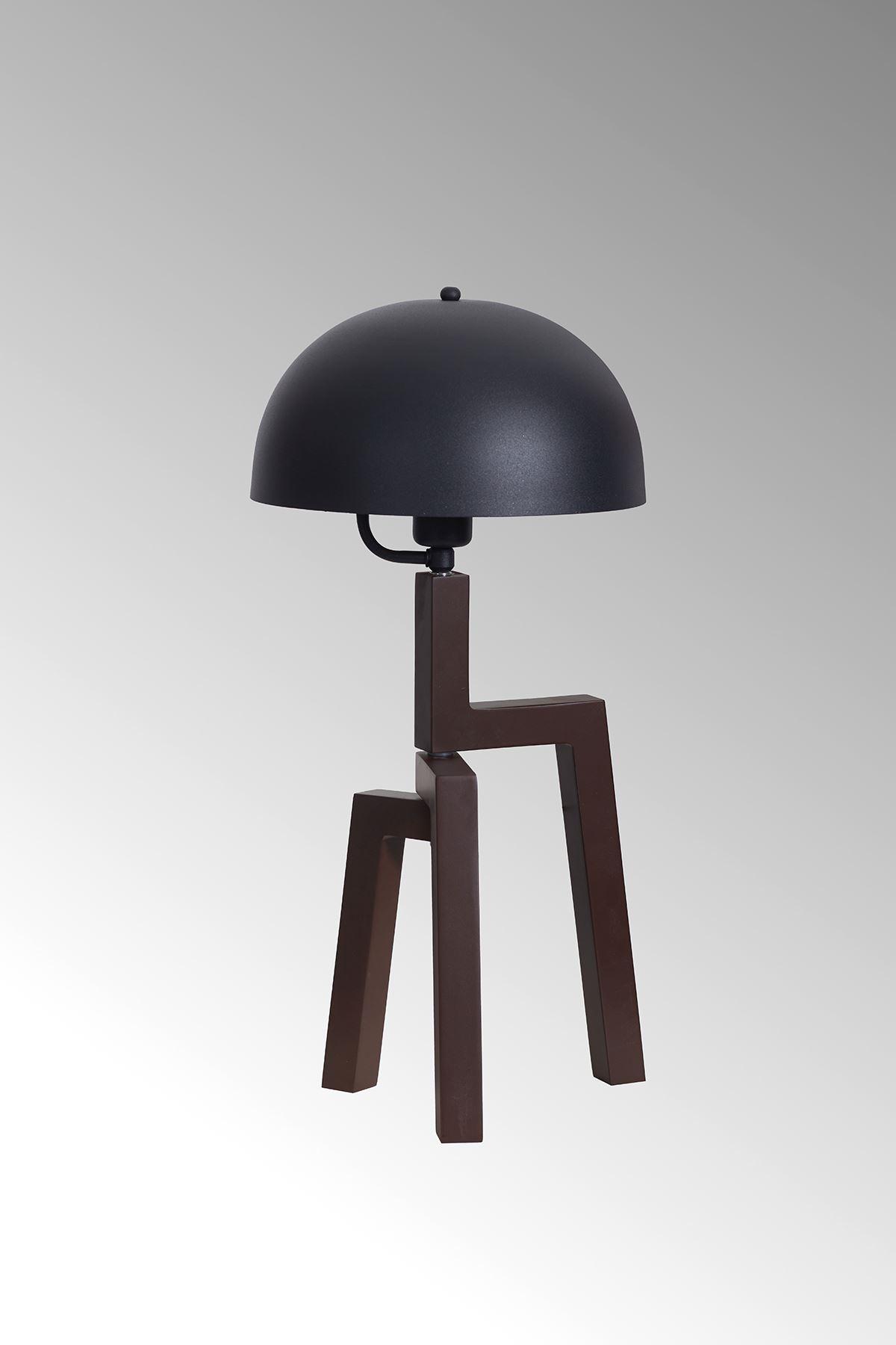 Viyana Kahverengi Ahşap Gövde Siyah Başlık Tasarım Lüx Masa Lambası