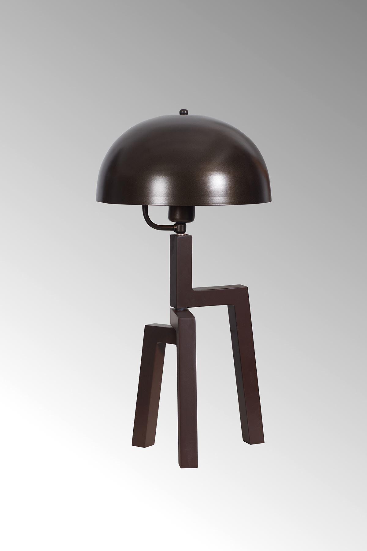 Viyana Kahverengi Ahşap Gövde Eskitme Başlık Tasarım Lüx Masa Lambası