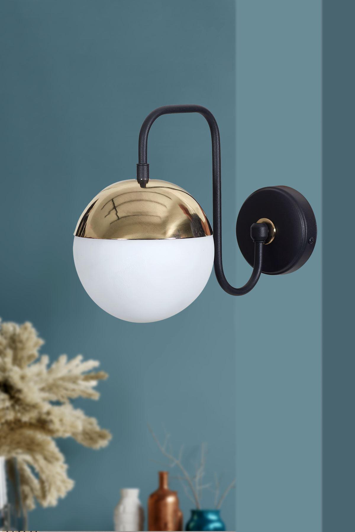 Siesta Gold-Siyah Metal Gövde Beyaz Camlı Tasarım Lüx Aplik