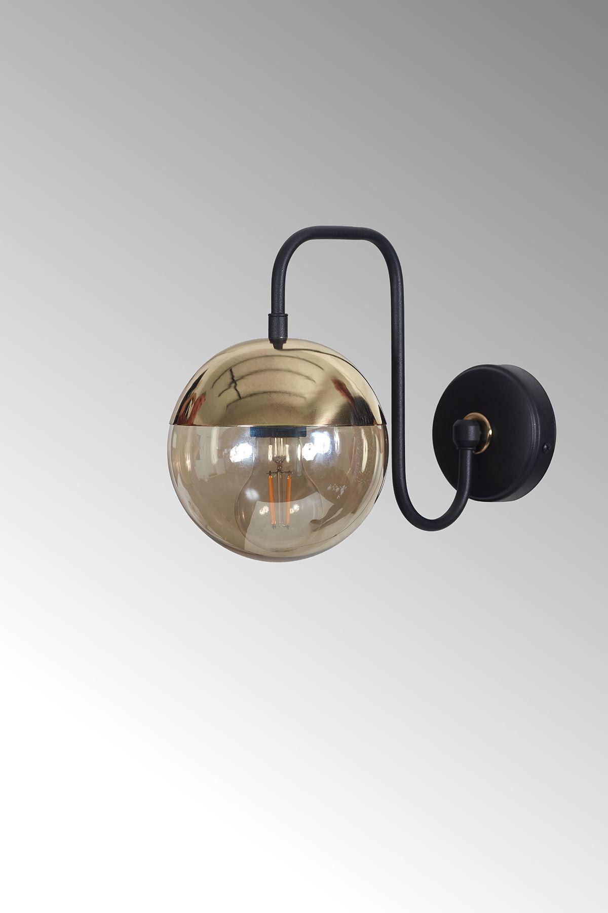 Siesta Gold-Siyah Metal Gövde Bal Rengi Camlı Tasarım Lüx Aplik