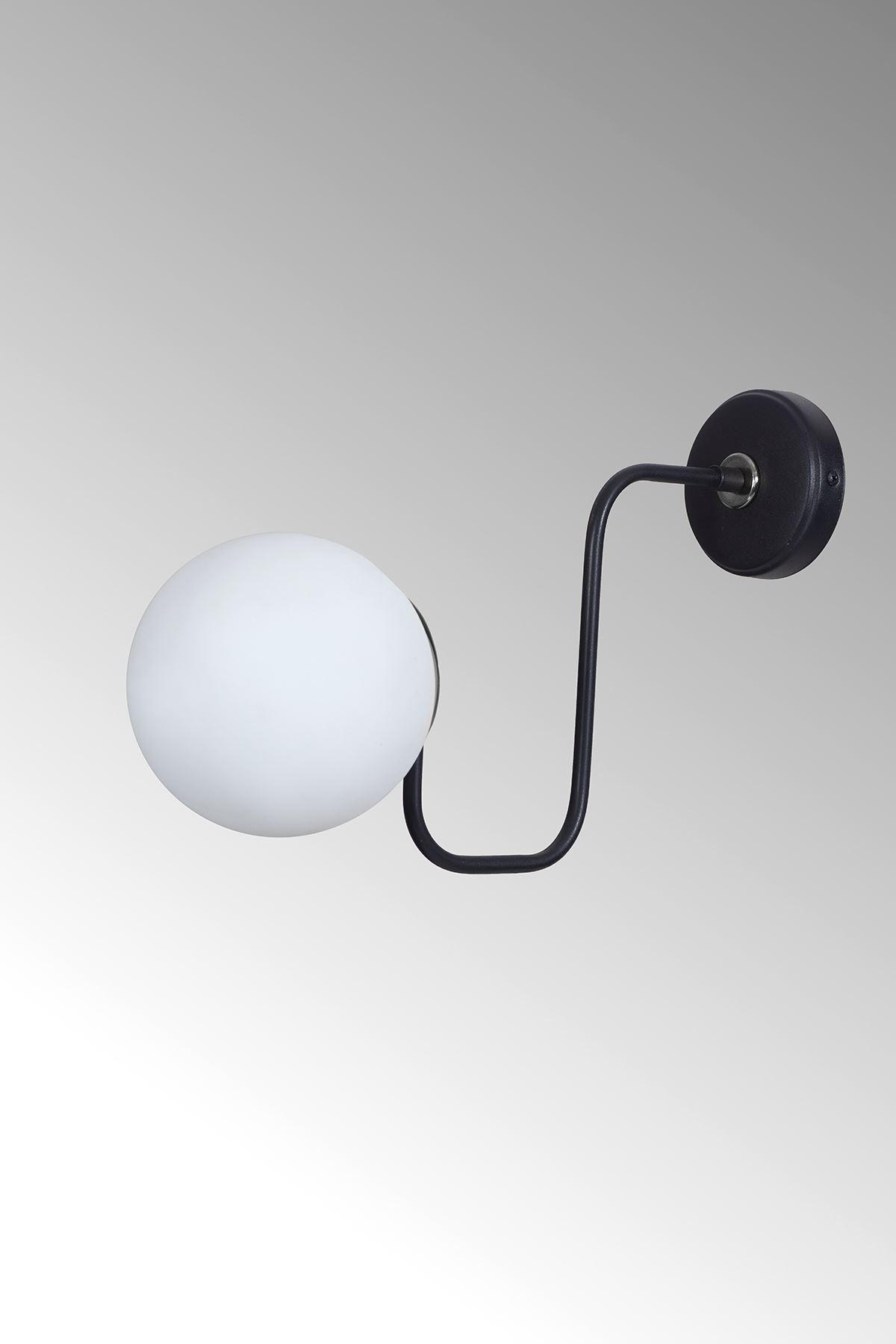 Belize Krom-Siyah Metal Gövde Beyaz Camlı Tasarım Lüx Aplik