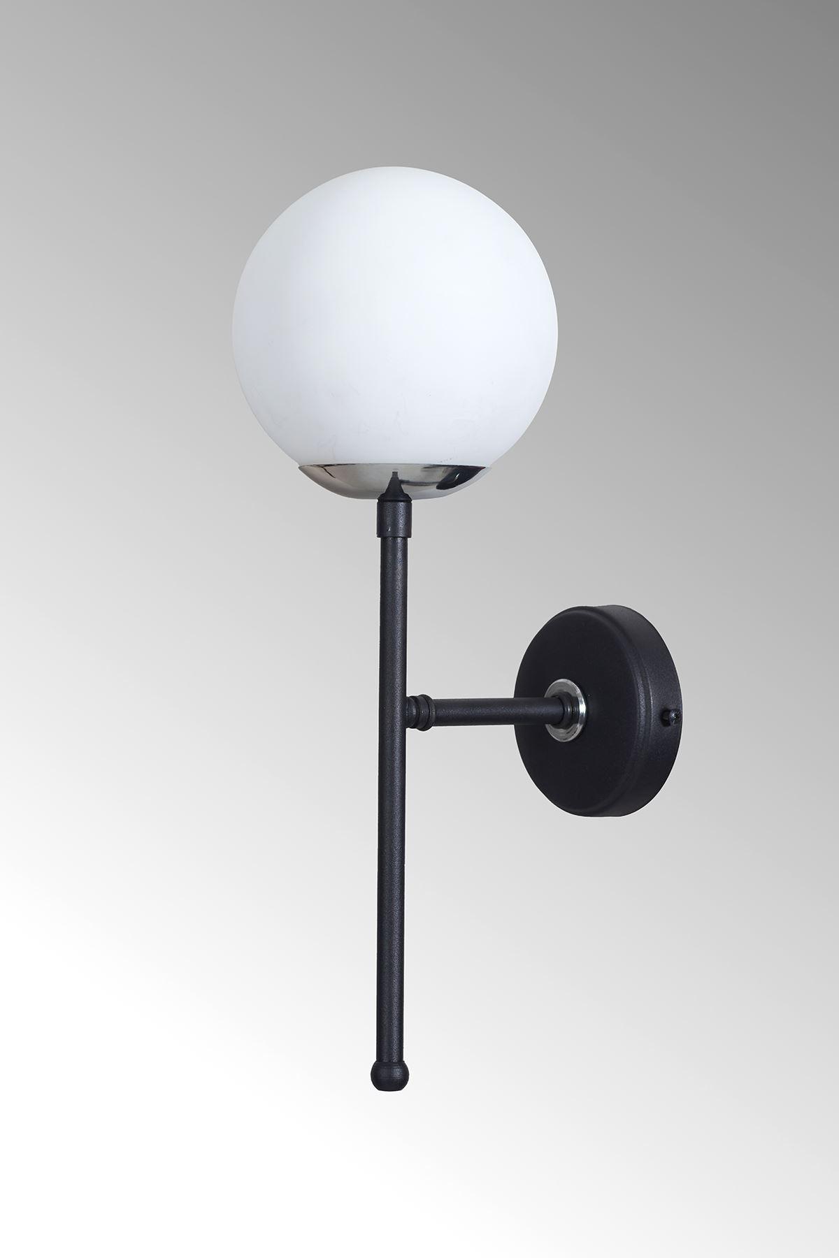 Olimpo Krom-Siyah Metal Gövde Beyaz Camlı Tasarım Lüx Aplik