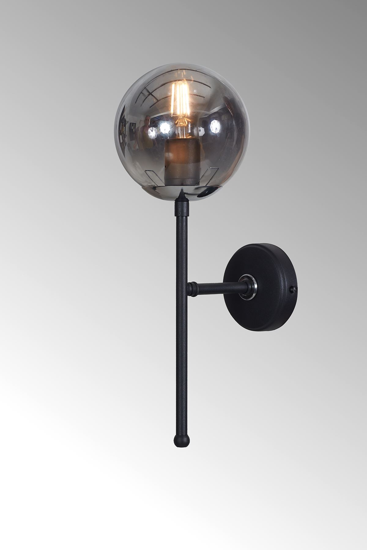 Olimpo Krom-Siyah Metal Gövde Füme Camlı Tasarım Lüx Aplik