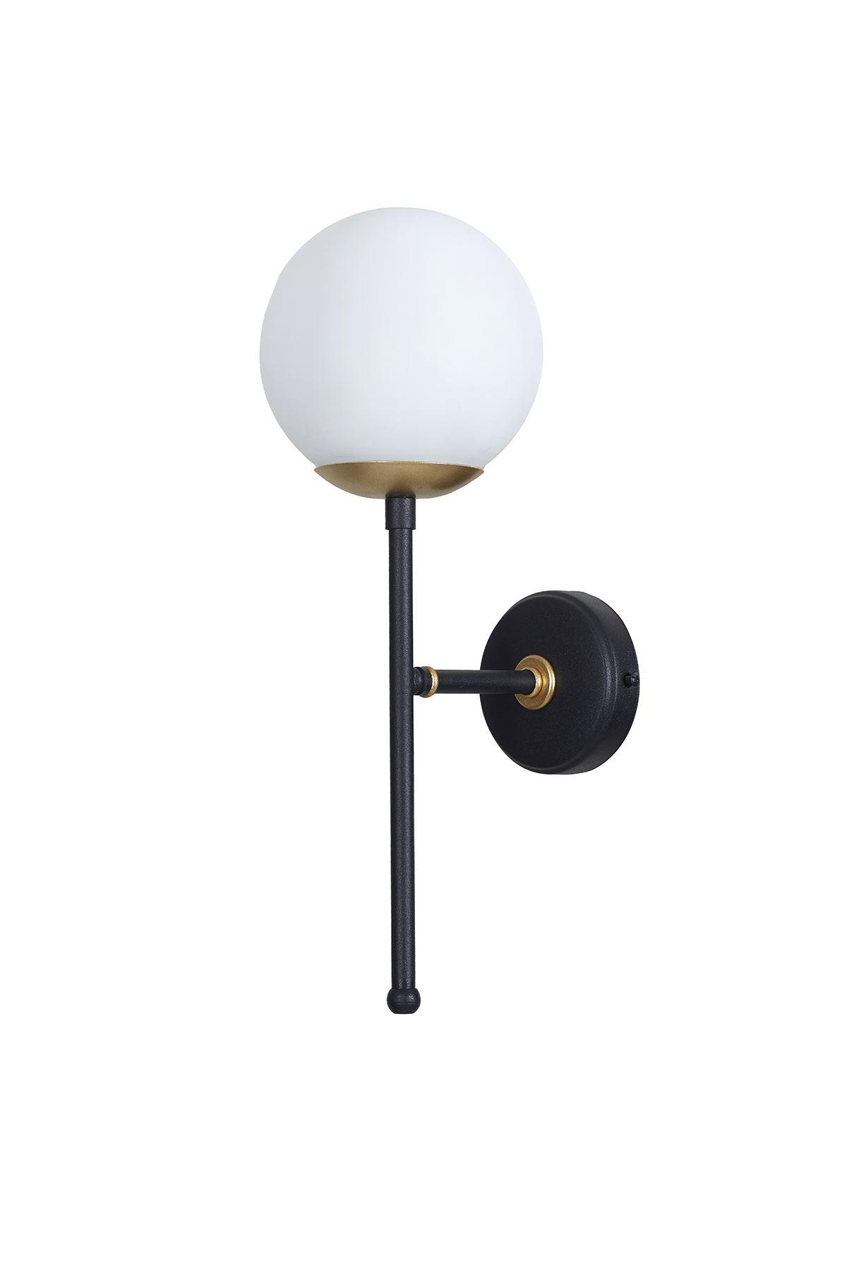 Olimpo Sarı-Siyah Metal Gövde Beyaz Camlı Tasarım Lüx Aplik