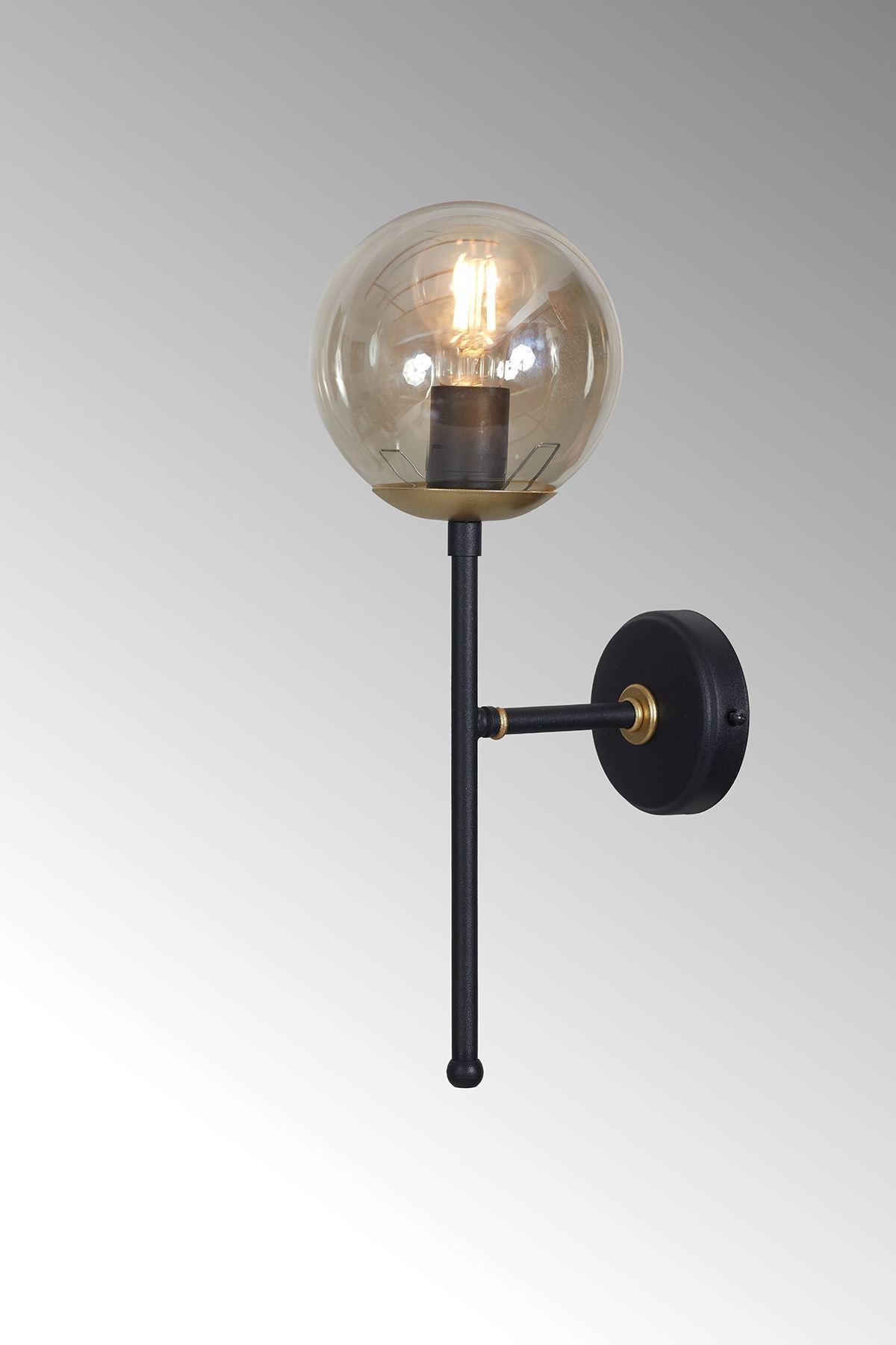 Olimpo Sarı-Siyah Metal Gövde Bal Rengi Camlı Tasarım Lüx Aplik