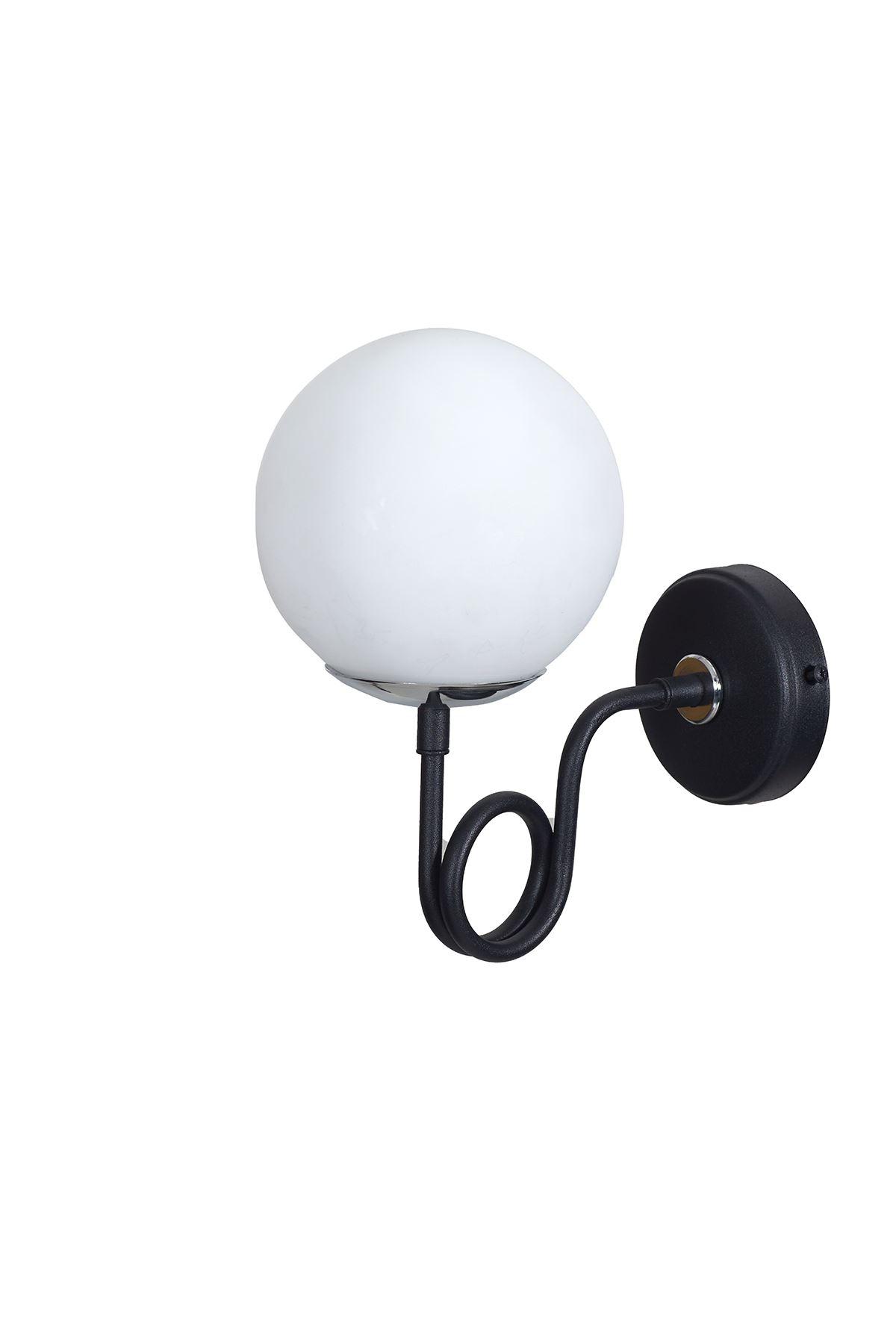 Gali Krom-Siyah Metal Gövde Beyaz Camlı Tasarım Lüx Aplik