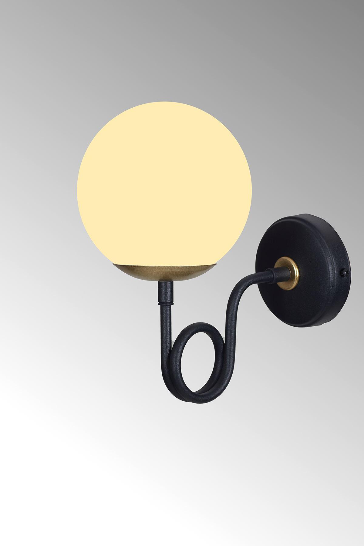 Gali Sarı-Siyah Metal Gövde Beyaz Camlı Tasarım Lüx Aplik