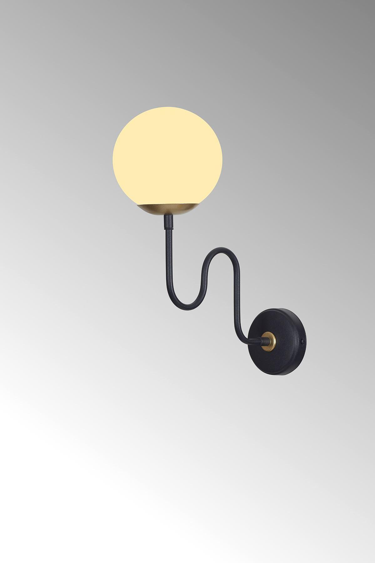 Ferro Dikey Sarı-Siyah Metal Gövde Beyaz Camlı Tasarım Lüx Aplik