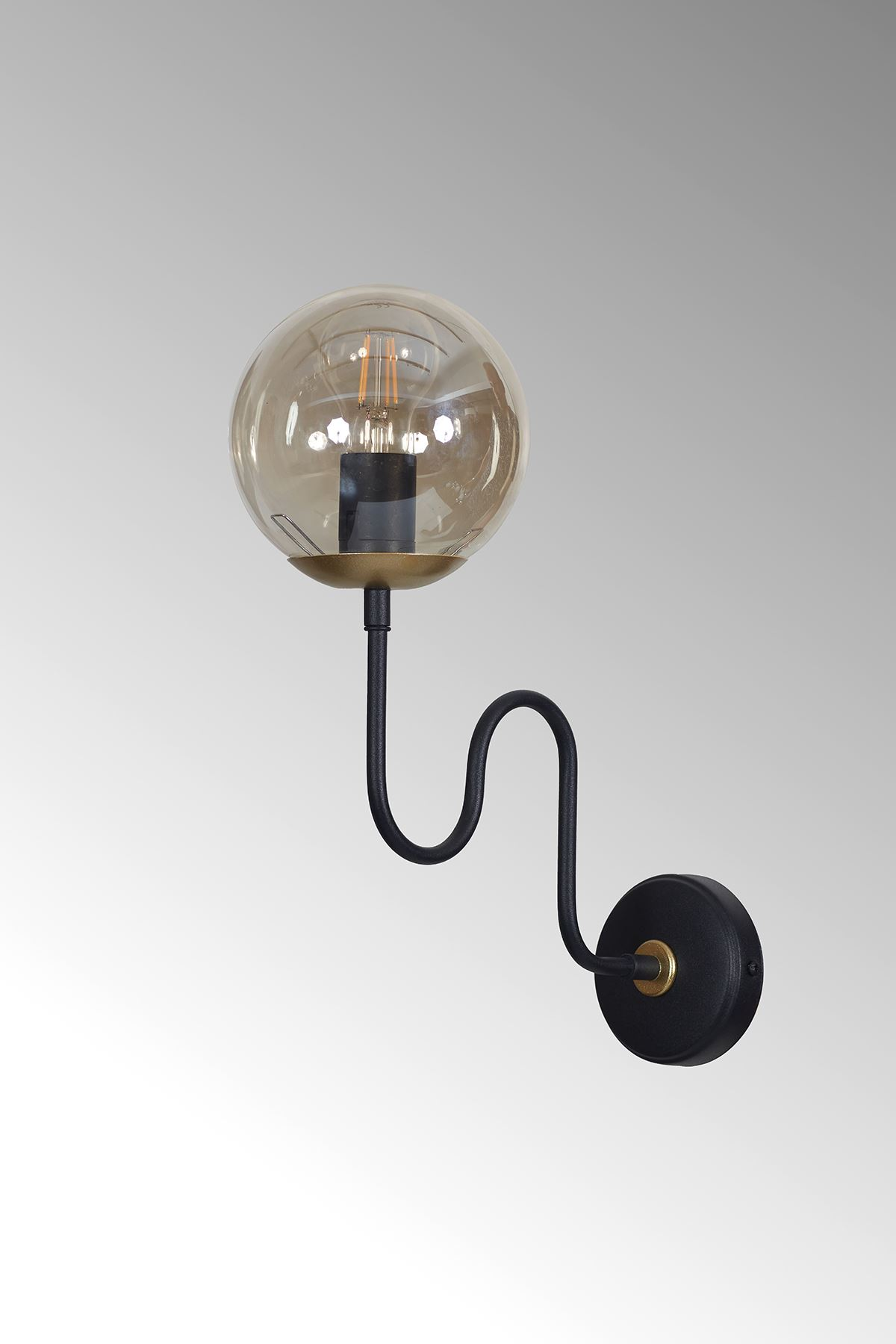 Ferro Dikey Sarı-Siyah Metal Gövde Bal Rengi Camlı Tasarım Lüx Aplik