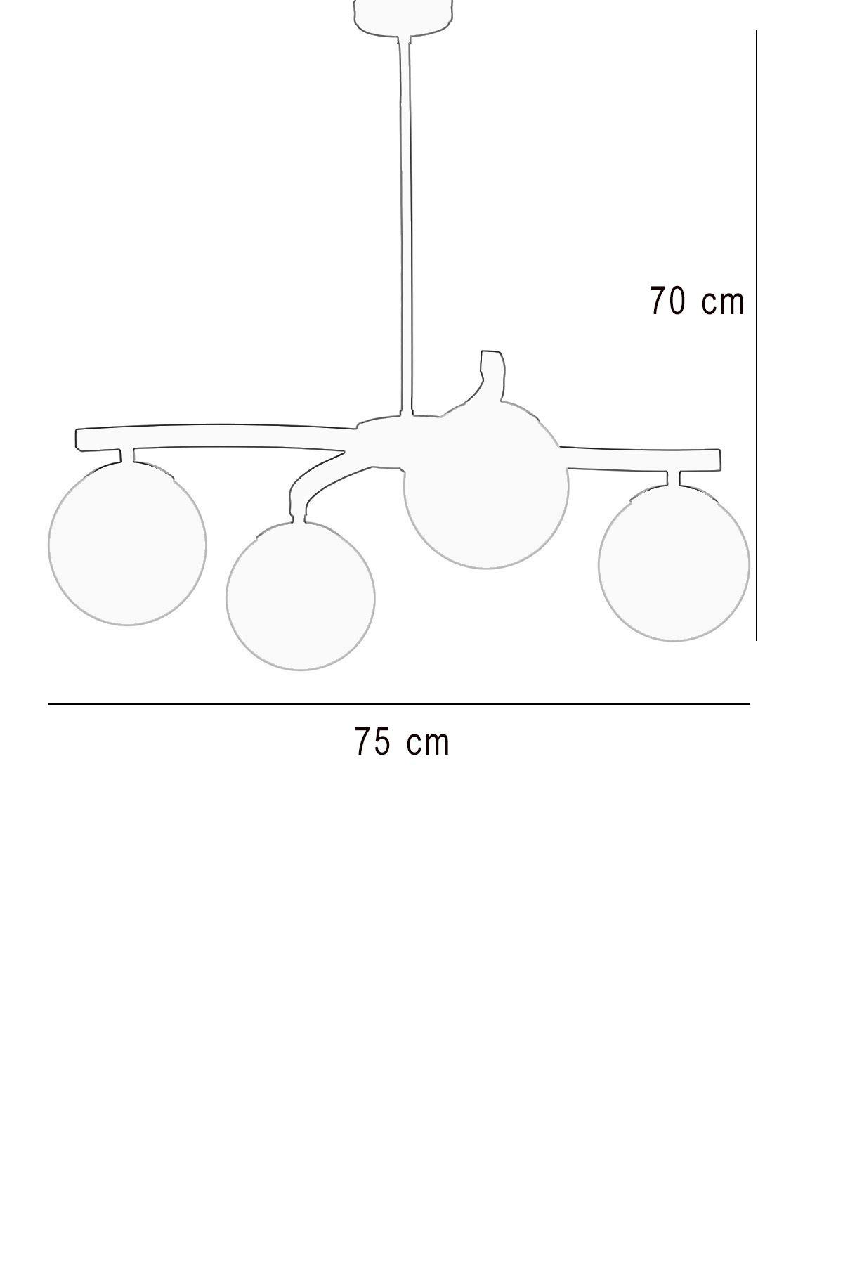 Lara 4 Lü Gold-Siyah Metal Gövde Bal Rengi Camlı Tasarım Lüx  Avize