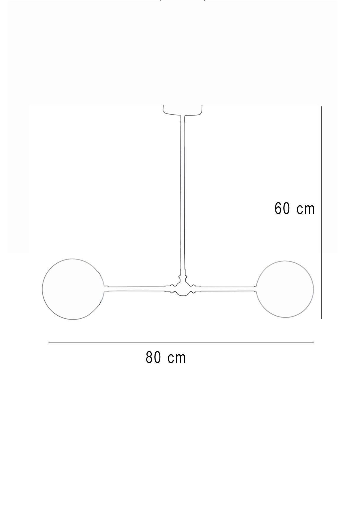 Greg 2 Li Gold-Siyah Metal Gövde Beyaz Rengi Camlı Tasarım Lüx  Avize