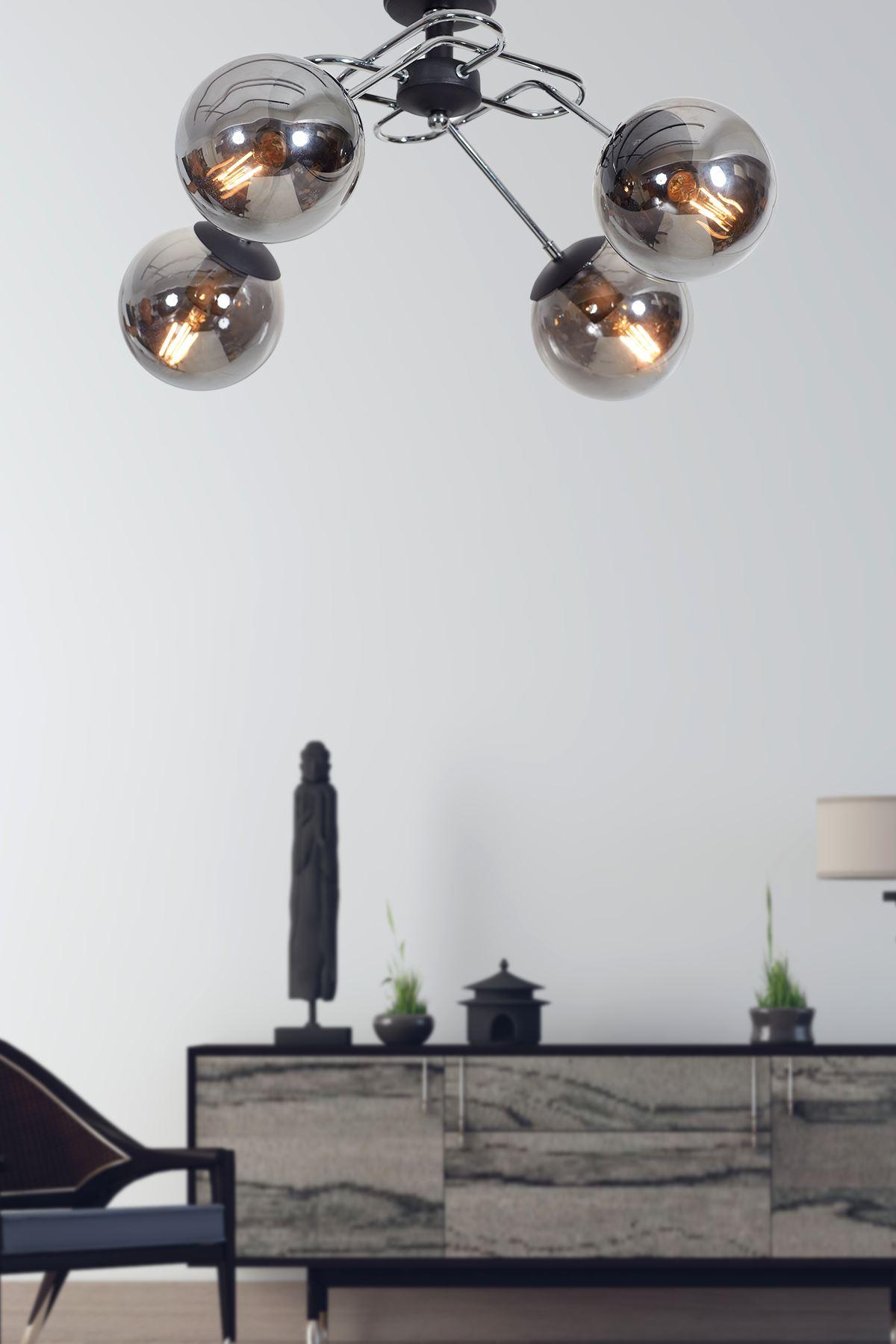 Milo 4 Lü Krom Kollu-Siyah Metal Gövde Füme Camlı Tasarım Lüx  Avize