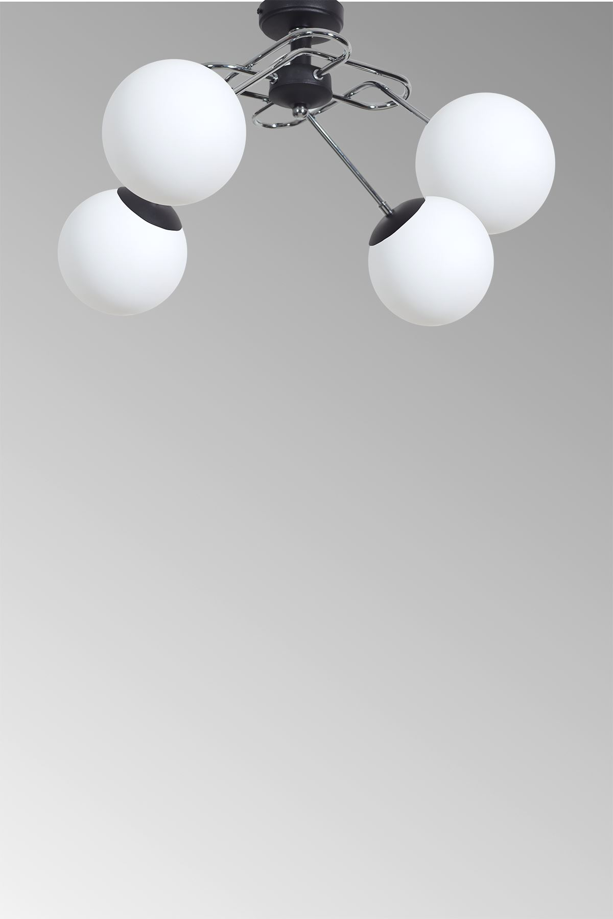 Milo 4 Lü Krom Kollu-Siyah Metal Gövde Beyaz Camlı Tasarım Lüx  Avize