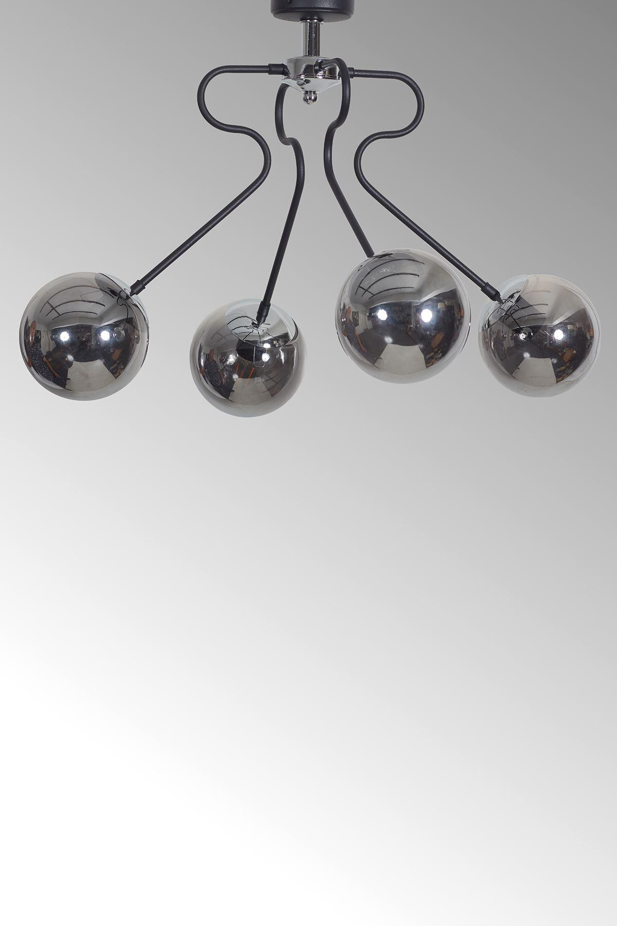Dominik 4 Lü Siyah Kollu-Krom Metal Gövde Füme Rengi Camlı Tasarım Lüx  Avize