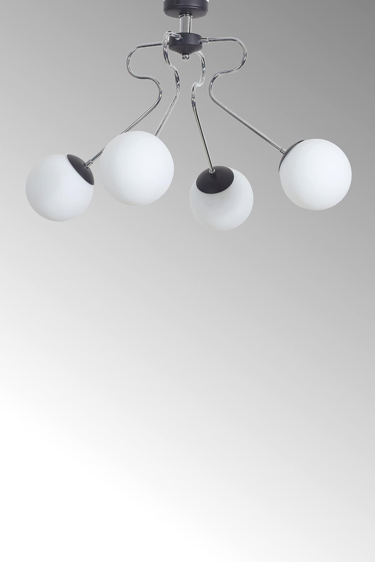 Dominik 4 Lü Krom Kollu-Siyah Metal Gövde Beyaz Camlı Tasarım Lüx  Avize