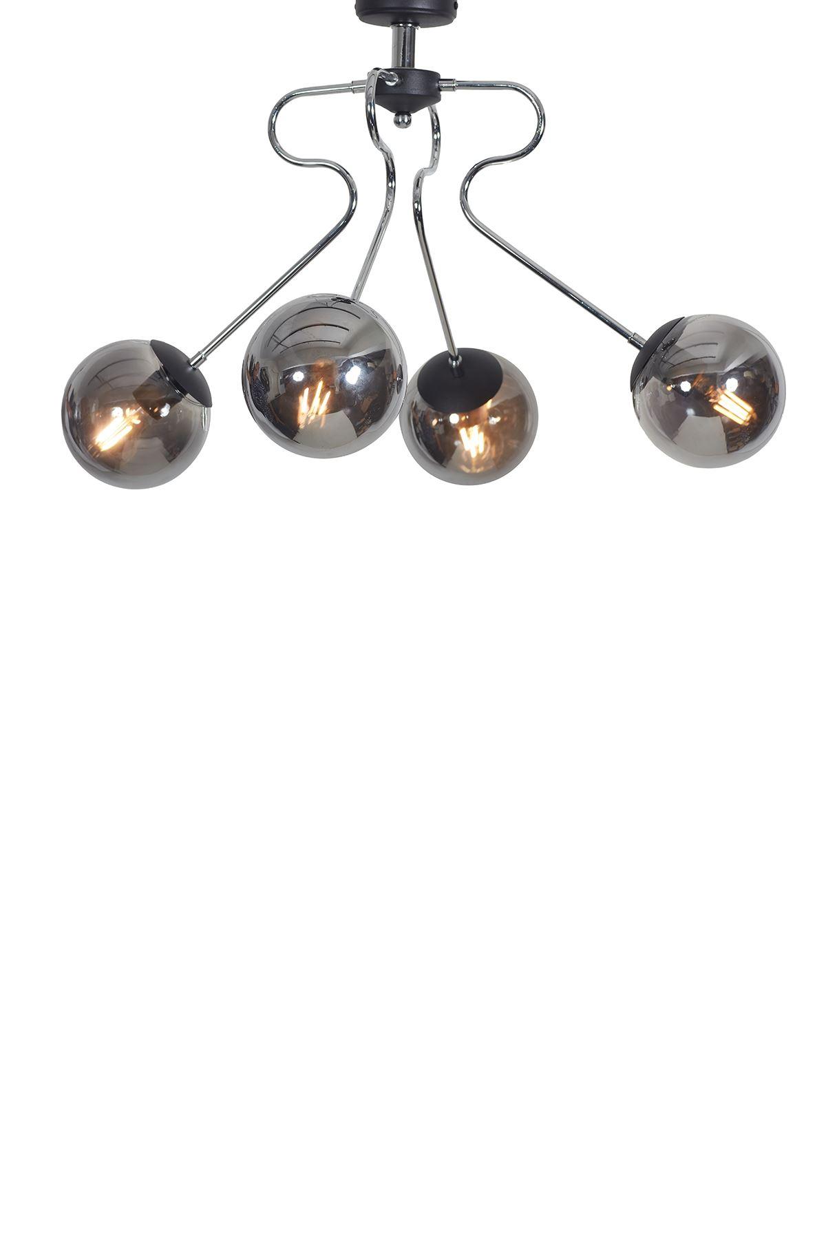 Dominik 4 Lü Krom Kollu-Siyah Metal Gövde Füme Camlı Tasarım Lüx  Avize