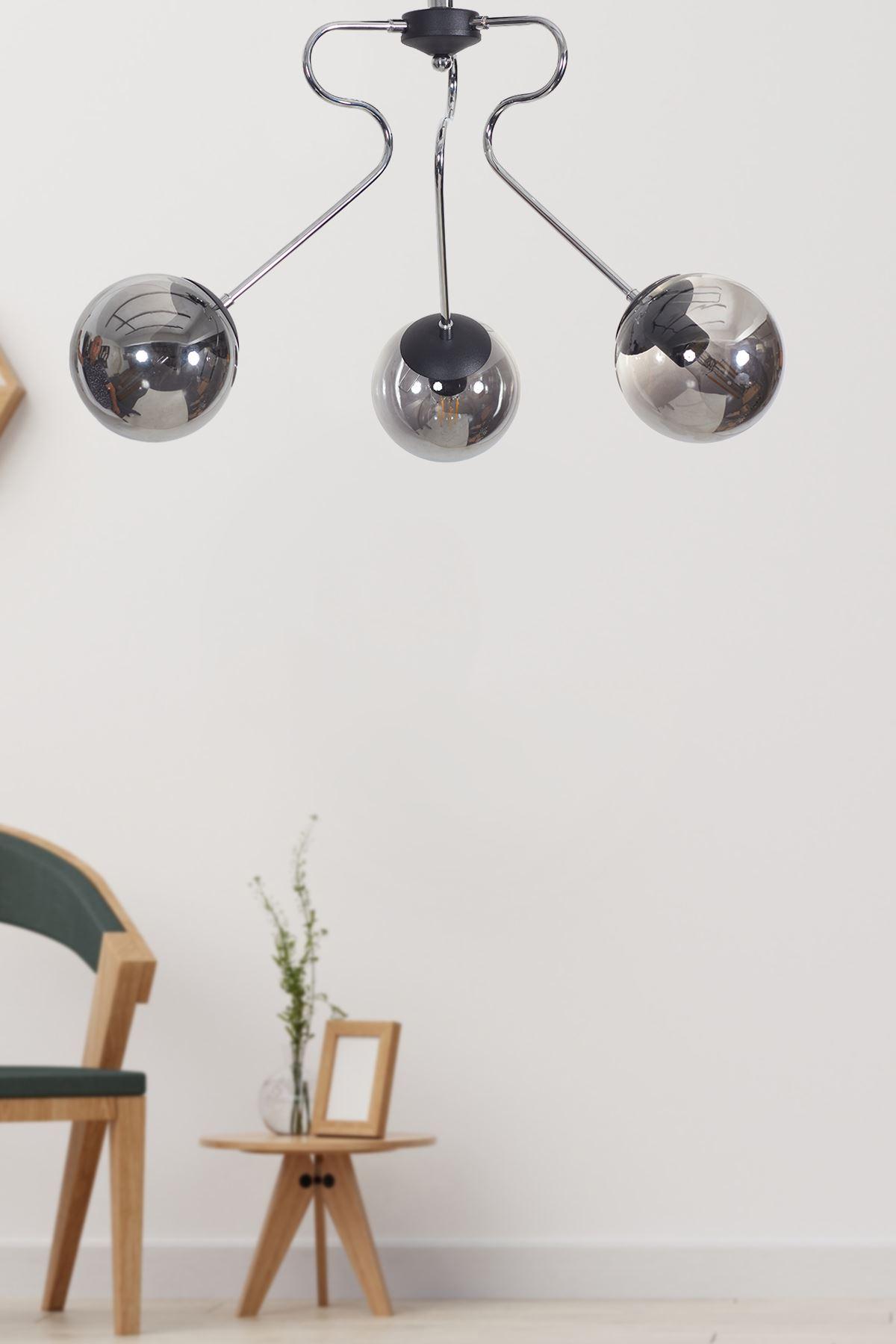 Dominik 3 Lü Krom Kollu-Siyah Metal Gövde Füme Camlı Tasarım Lüx  Avize