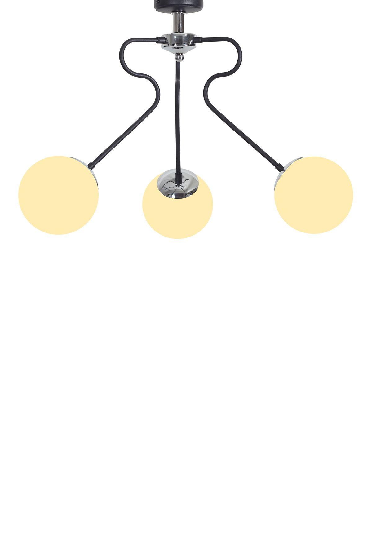 Dominik 3 Lü Siyah Kollu-Krom Metal Gövde Beyaz Rengi Camlı Tasarım Lüx Sarkıt Avize