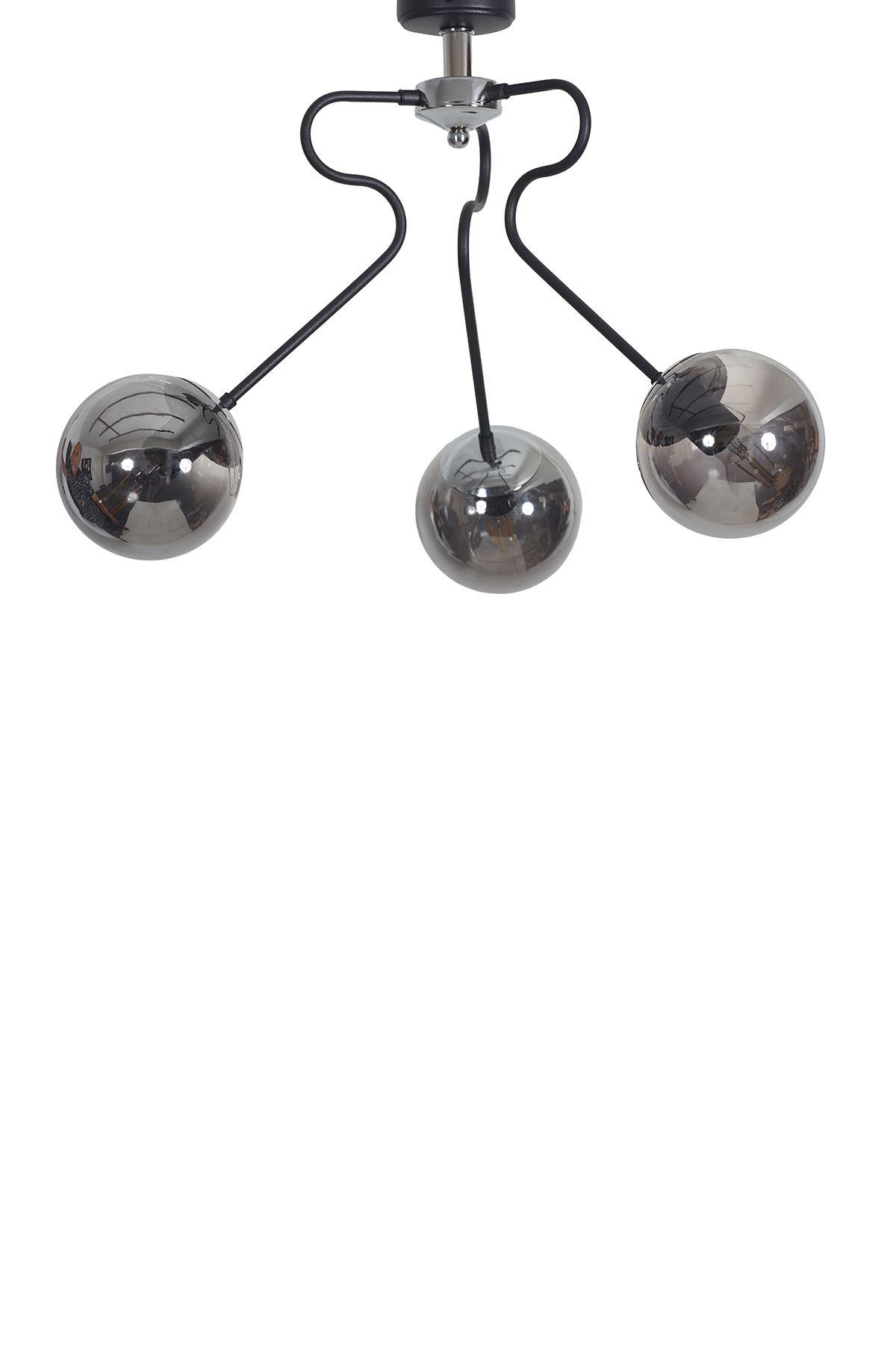 Dominik 3 Lü Siyah Kollu-Krom Metal Gövde Füme Rengi Camlı Tasarım Lüx  Avize